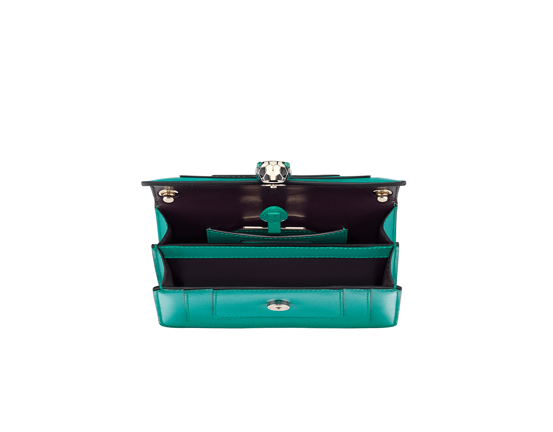 Serpenti Forever mini crossbody bag in tropical tourquoise calf leather. Brass light gold plated snake head closure in black and white enamel, with green malachite eyes. 288043 image 4
