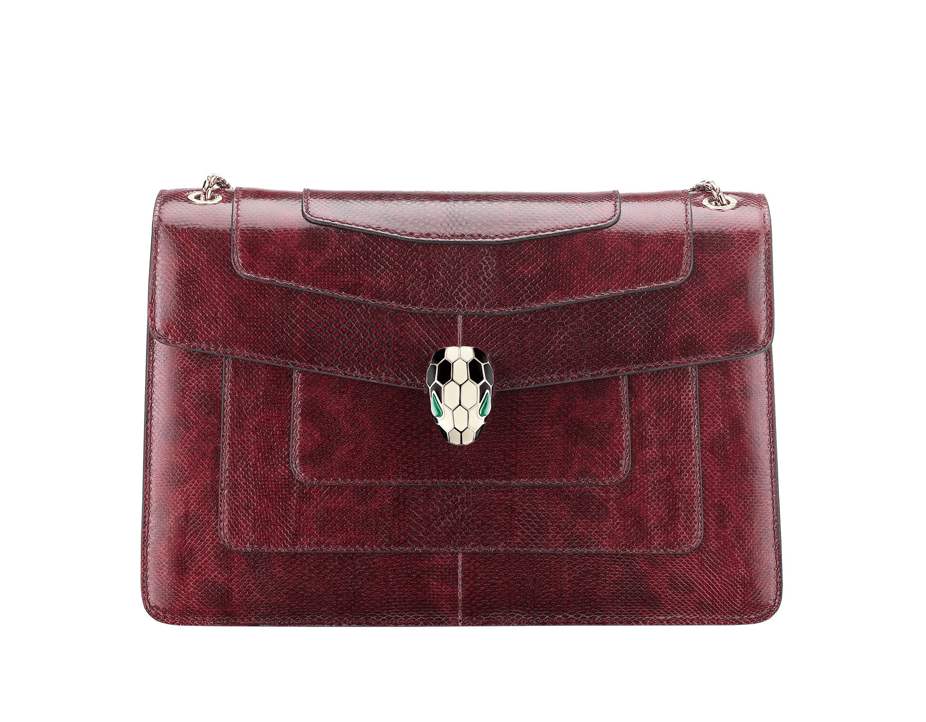 Flap cover bag Serpenti Forever in roman garnet shiny karung skin. Brass light gold plated tempting snake head closure in shiny black and white enamel, with eyes in green malachite. 286199 image 1