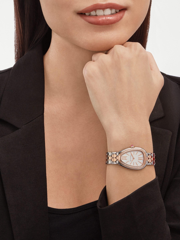 Serpenti Seduttori Uhr mit Gehäuse aus Edelstahl, Lünette aus 18Karat Roségold mit Diamanten, weißem Zifferblatt und Armband aus 18Karat Roségold und Edelstahl 103274 image 1