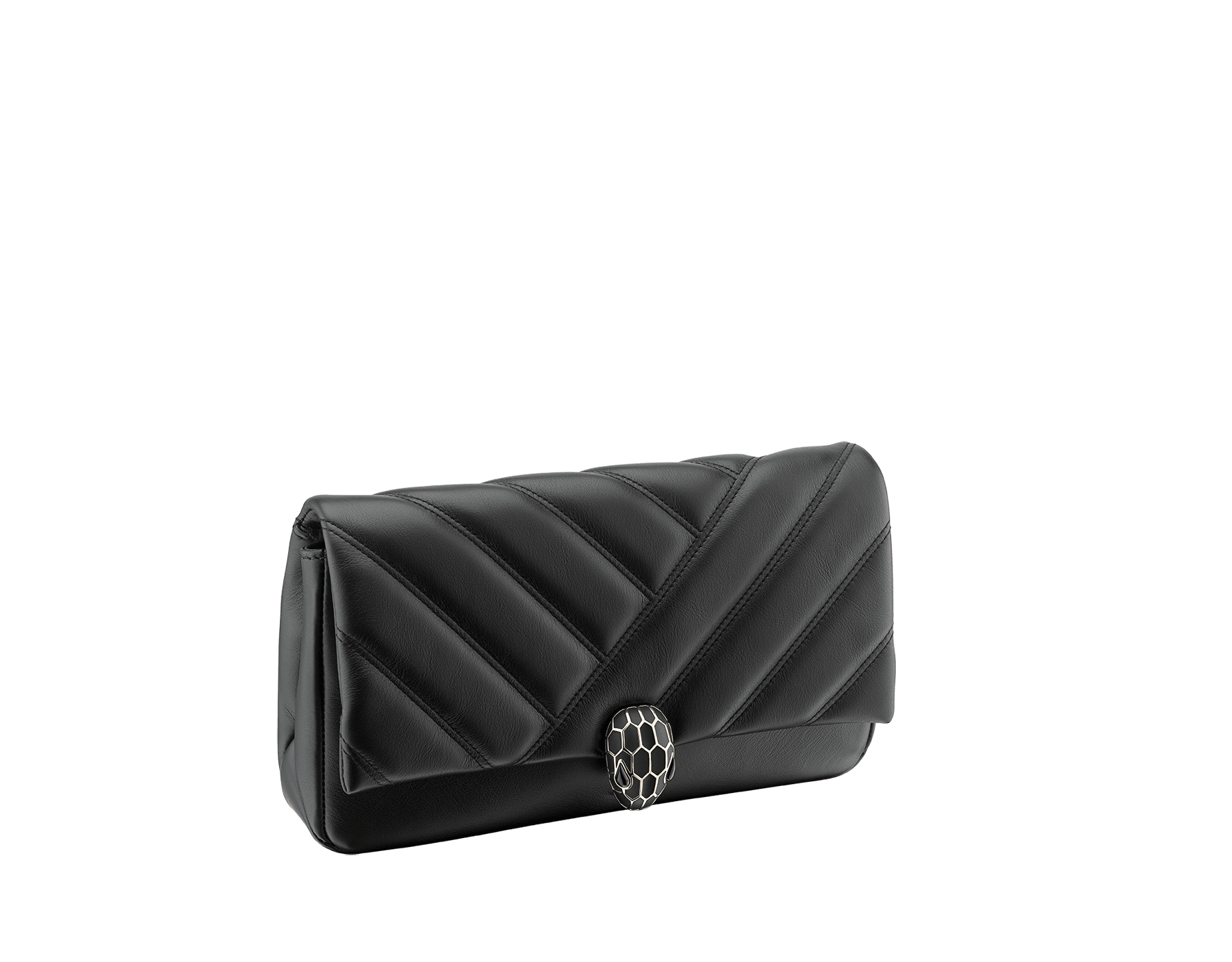 Serpenti Cabochon clutch bag in soft matelassé black calf leather, with a graphic motif. Tempting pink gold-plated brass snake head closure in matt and shiny black enamel and black onyx eyes. 289301 image 2