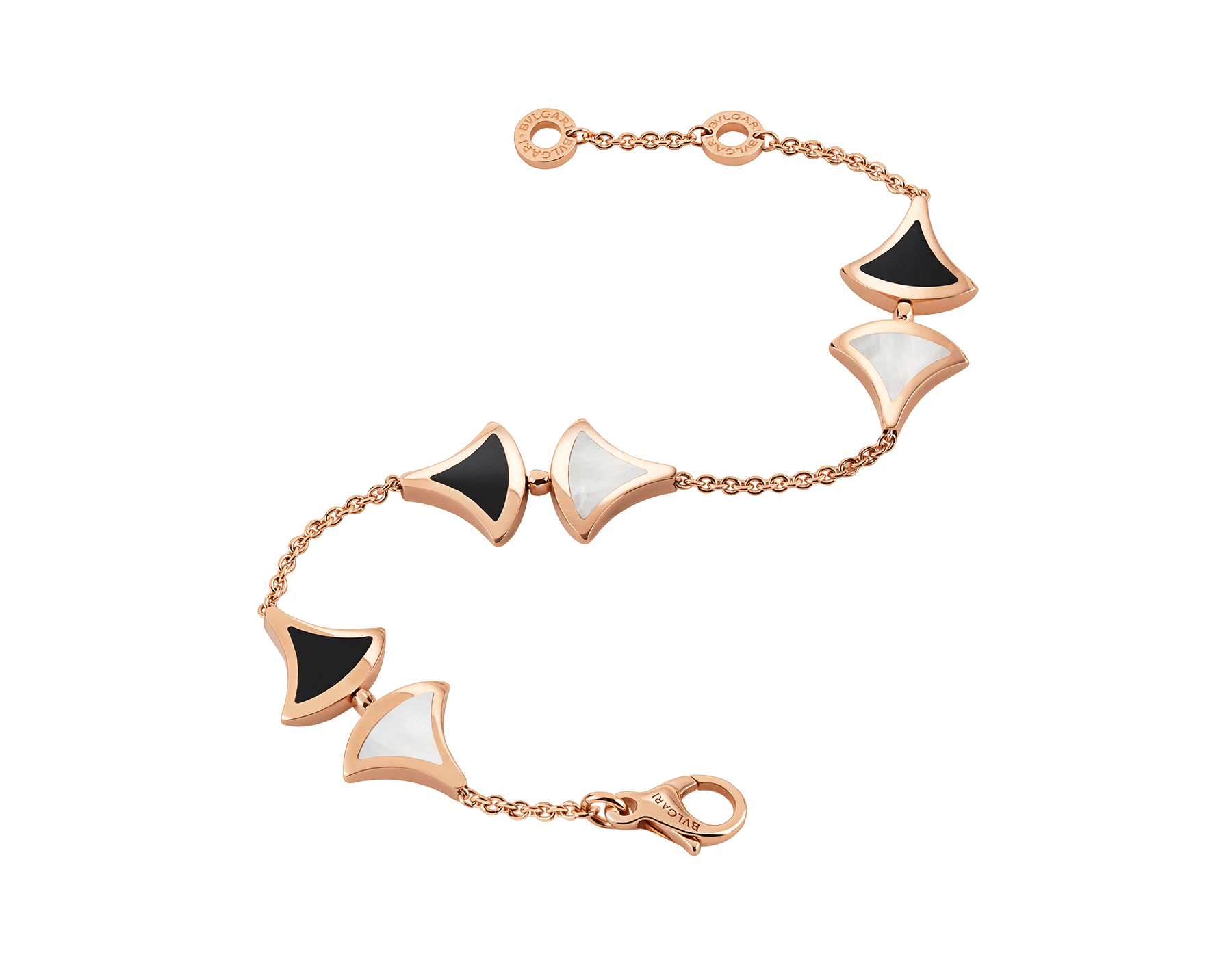 DIVAS' DREAM bracelet in 18 kt rose gold with mother-of-pearl and onyx elements. BR856995 image 2