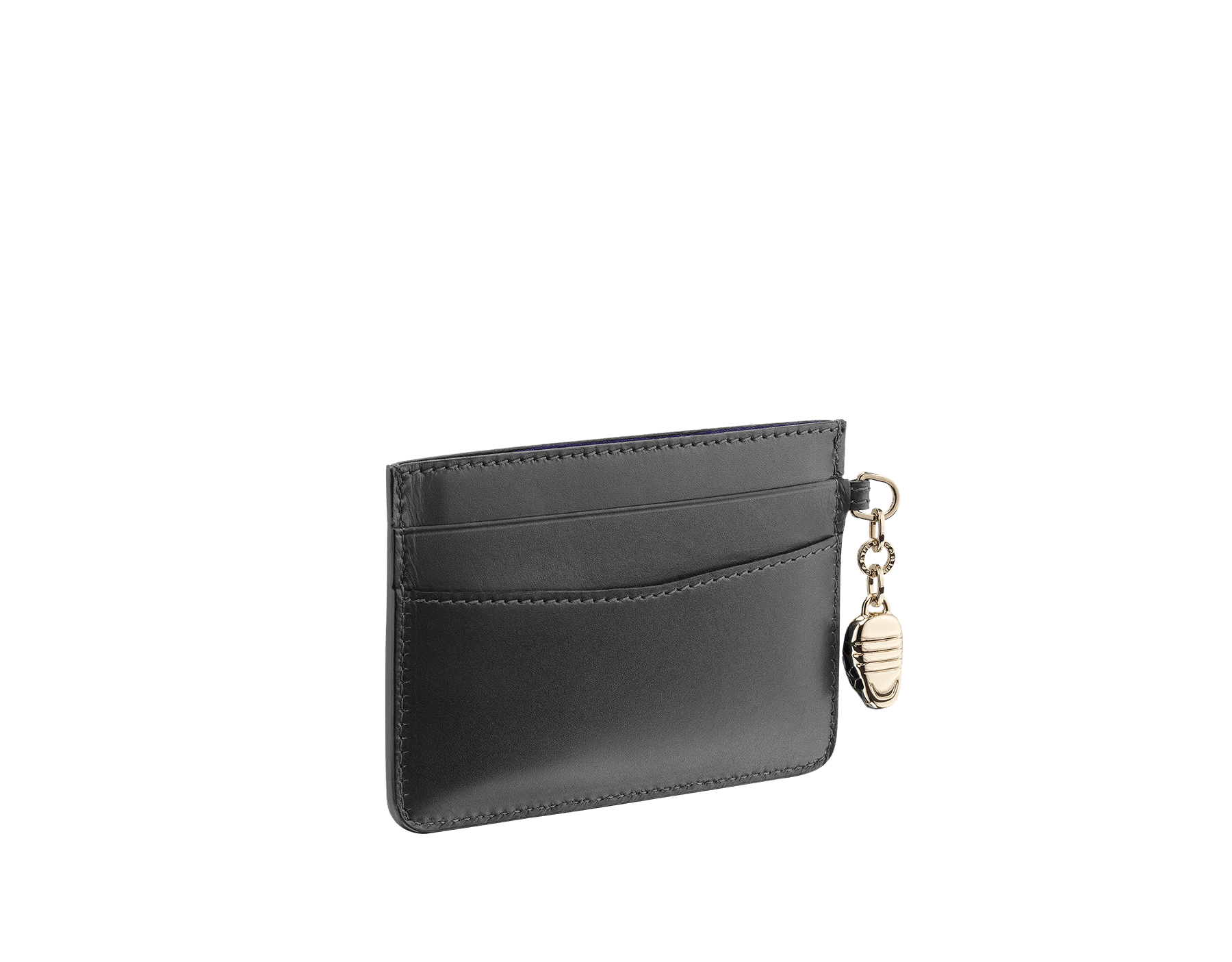 """Serpenti Forever"" card holder in Lavender Amethyst lilac calf leather. Iconic light gold-plated brass snakehead charm, finished with black and white agate enamel, and emerald green enamel eyes. SEA-CC-HOLDER-CLb image 2"