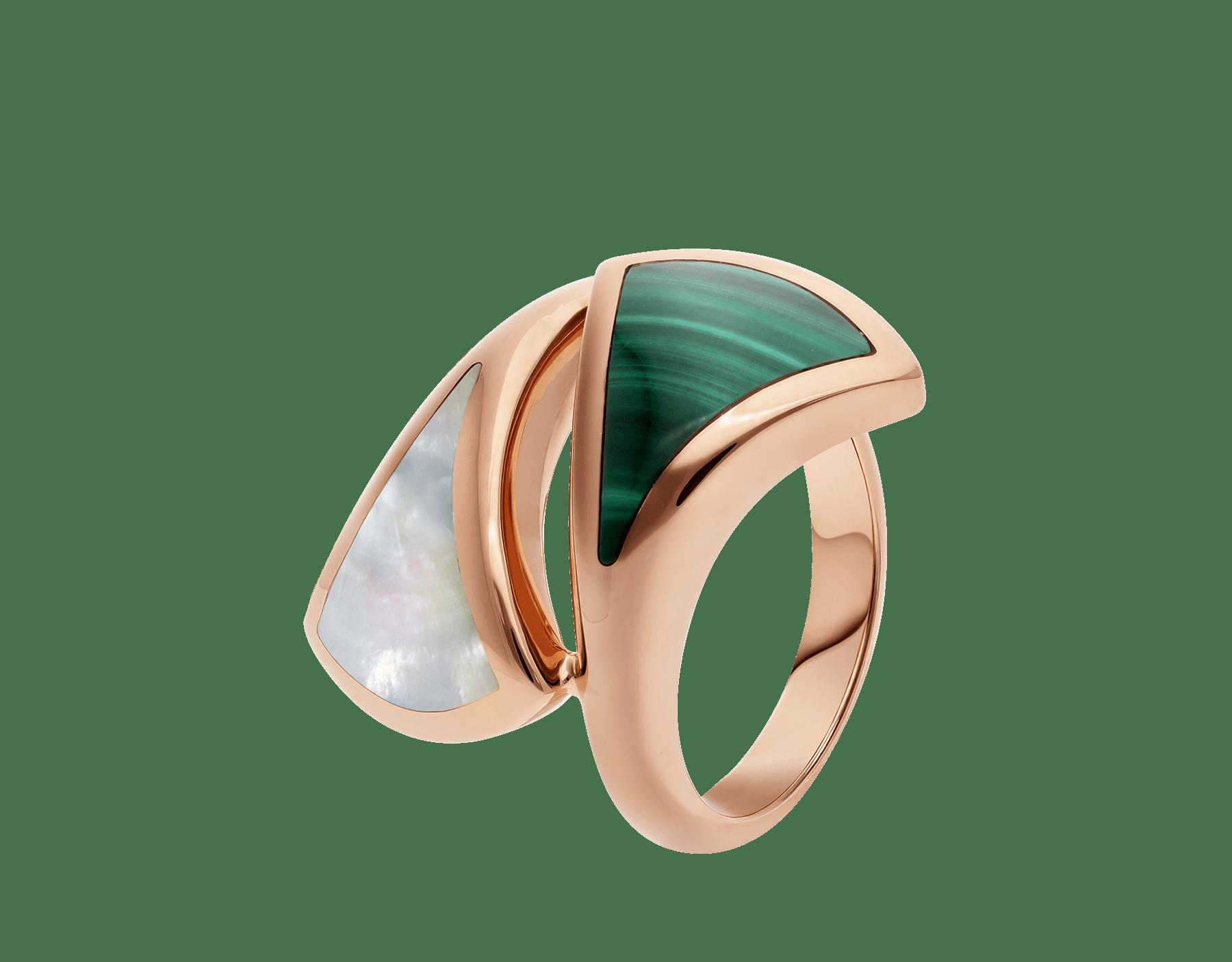 Незамкнутое кольцо DIVAS' DREAM, розовое золото 18 карат, перламутр, малахит. AN857955 image 1