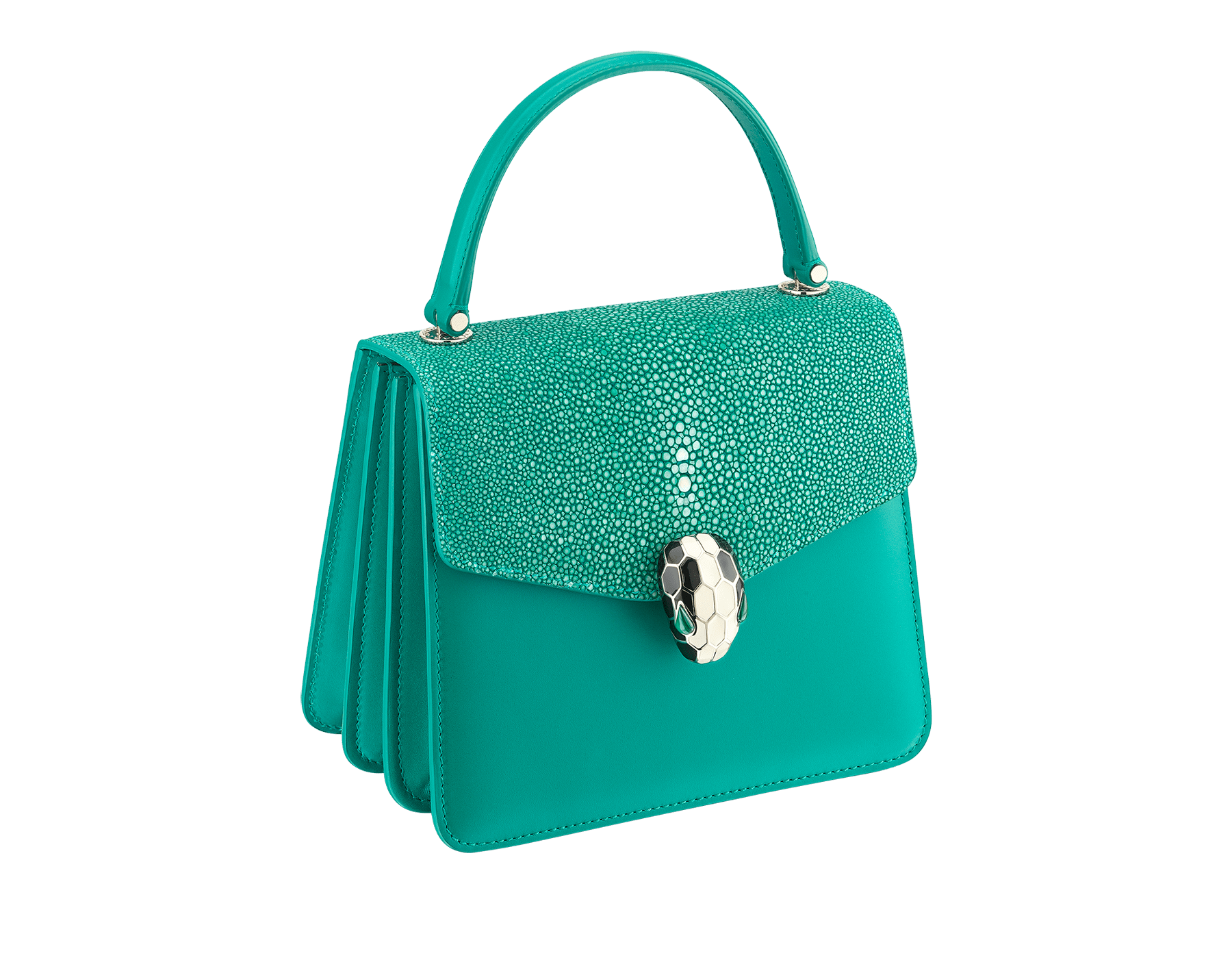 """Serpenti Forever"" crossbody bag in candy quartz galuchat skin and calf leather. Iconic snakehead closure in light gold plated brass enriched with black and white enamel and green malachite eyes 752-Gb image 2"