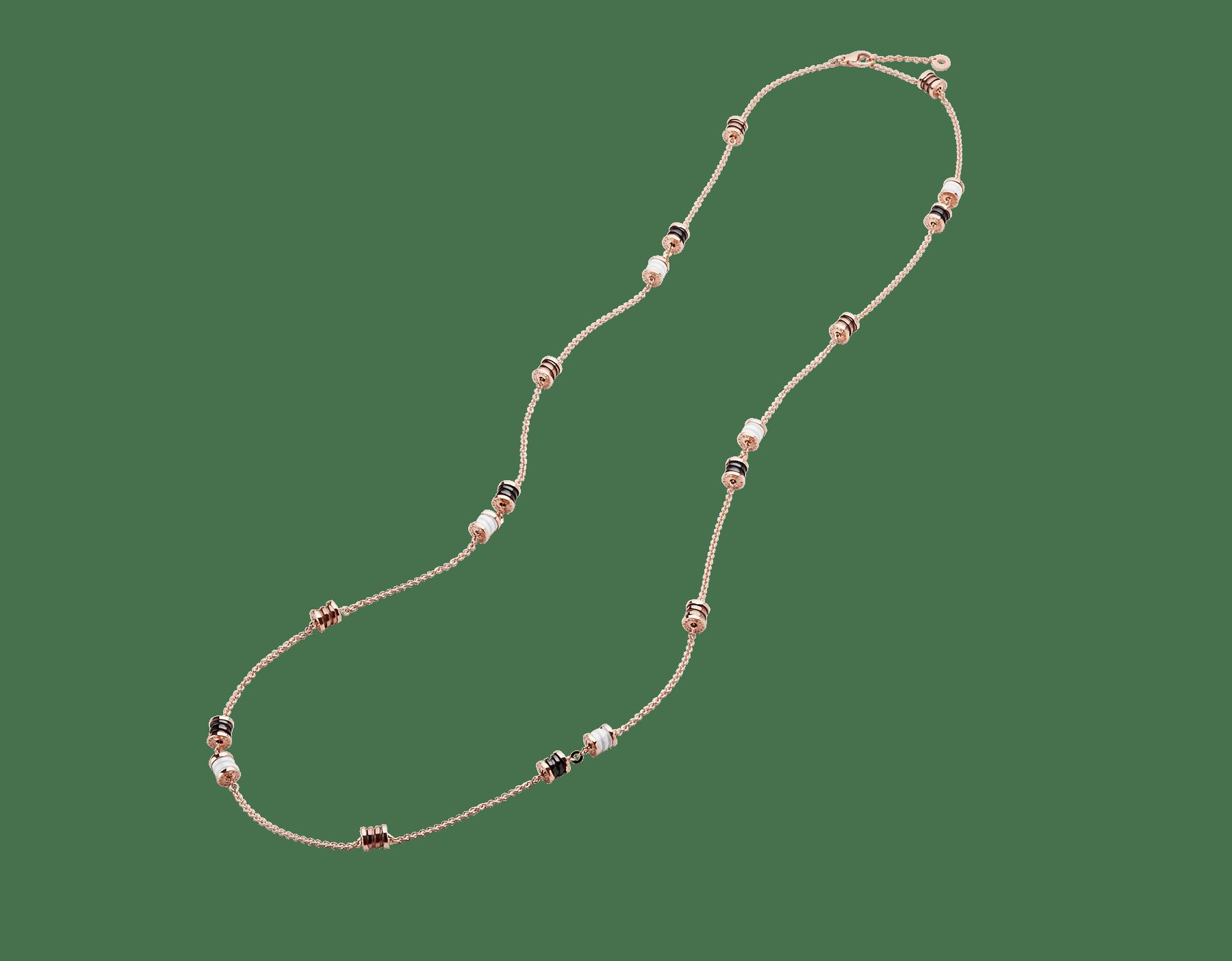 B.zero1 18 kt rose gold sautoir with spirals in 18 kt rose gold and cermet, 18 kt rose gold and white ceramic, 18 kt rose gold and black ceramic. 353002 image 2