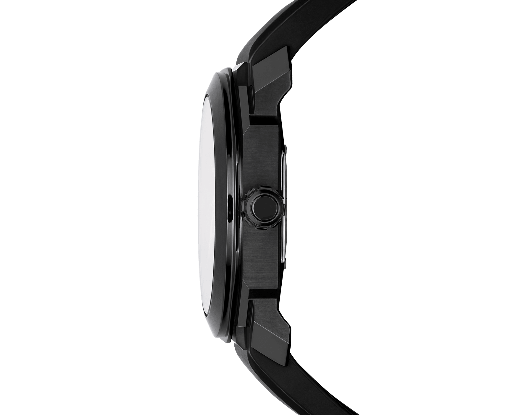 Octo watch with mechanical manufacture movement, automatic winding and date, stainless steel case treated with black Diamond Like Carbon, black lacquered dial and black rubber bracelet. 102738 image 3