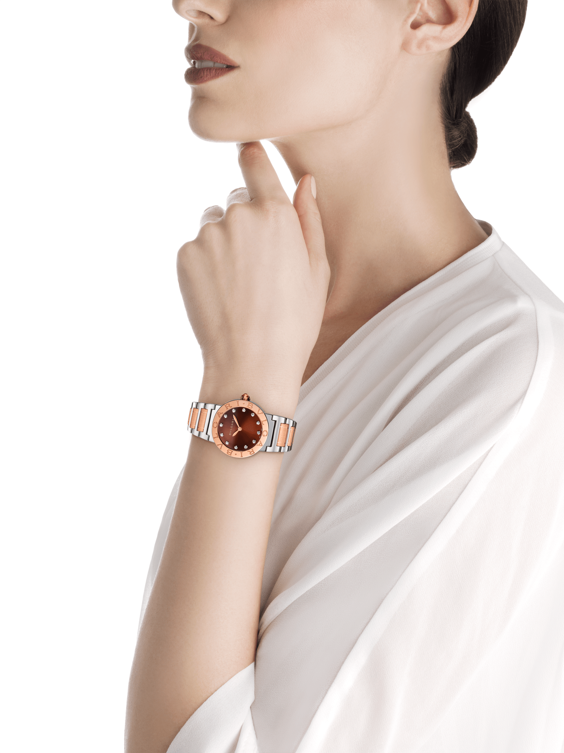 BVLGARI BVLGARI watch in stainless steel and 18 kt rose gold case and bracelet, with brown soleil lacquered dial and diamond indexes. Small model 102155 image 4