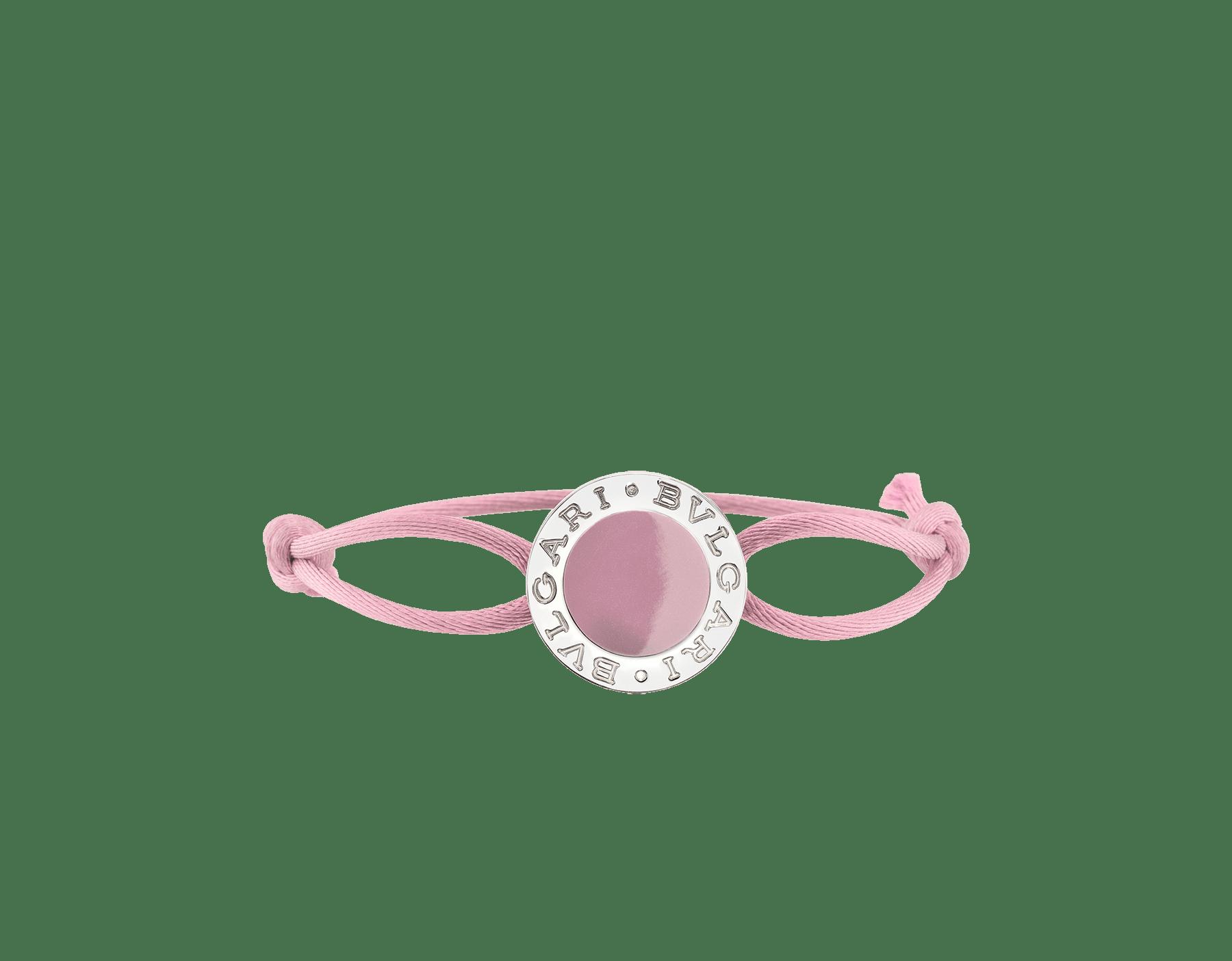 BVLGARI BVLGARI bracelet in flamingo quartz fabric with an iconic logo décor in sterling silver and flamingo quartz enamel. 288454 image 1