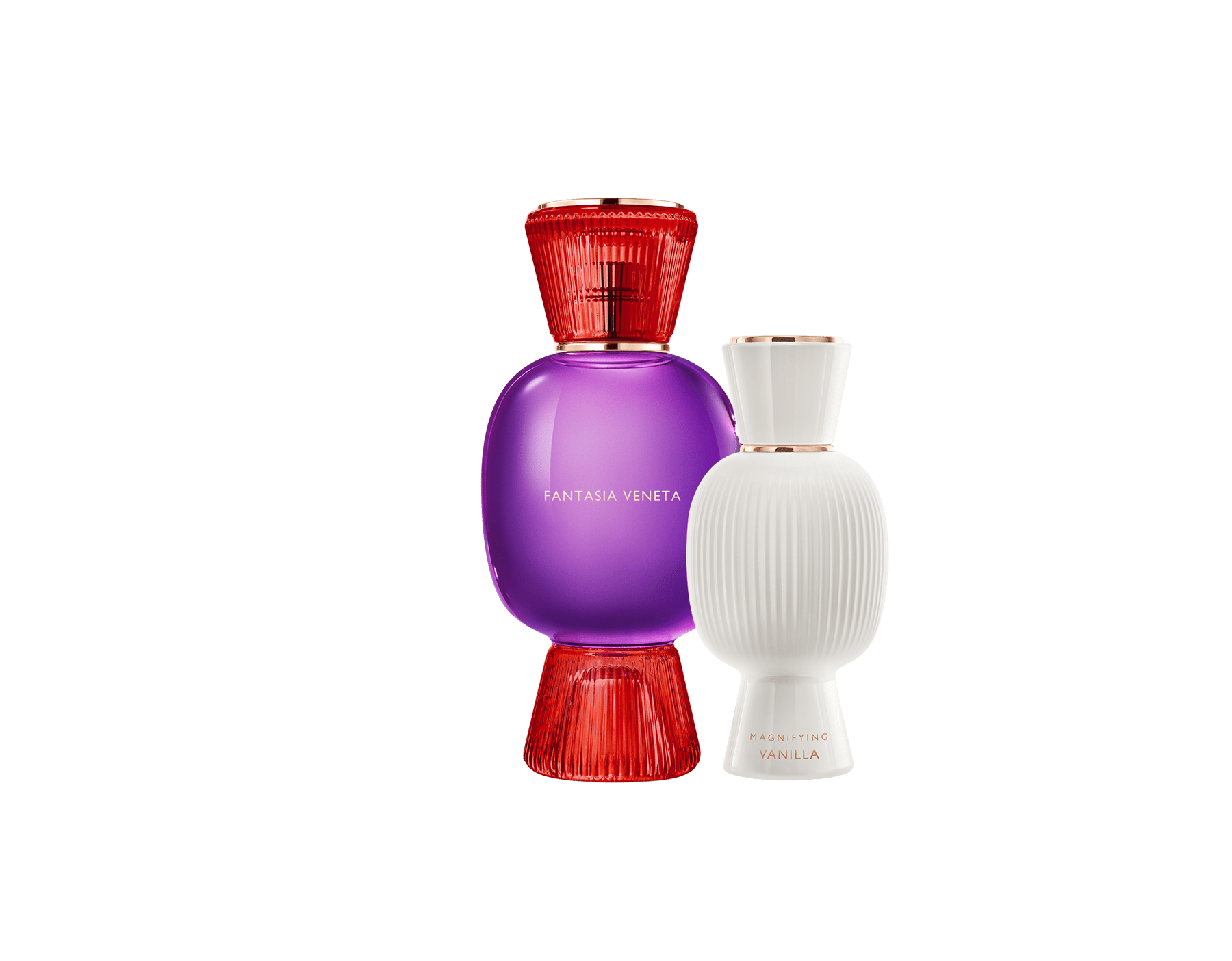 An exclusive perfume set, as bold and unique as you. The festive chypre Fantasia Veneta Allegra Eau de Parfum blends with the addictive aroma of the Magnifying Vanilla Essence, creating an irresistible personalised women's perfume. Perfume-Set-Fantasia-Veneta-Eau-de-Parfum-and-Vanilla-Magnifying image 1