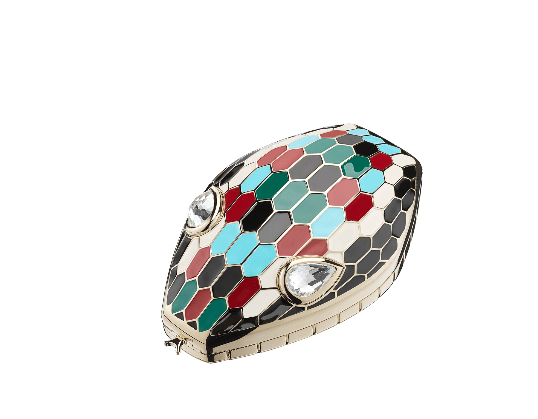"""""""Mary Katrantzou x Bvlgari"""" minaudière in light gold-plated brass with multicolor enamel scales, finished with seductive crystal eyes. Special Edition. MK-1153 image 1"""