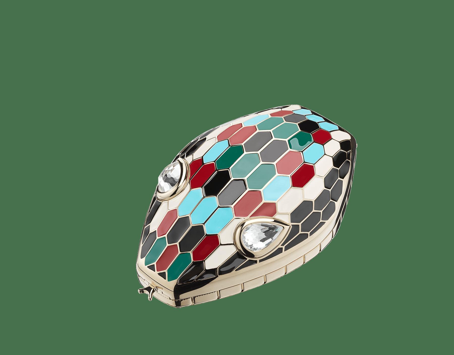 Минодьер Mary Katrantzou x Bvlgari, алюминий с покрытием из светлого золота, чешуйки из разноцветной эмали, гипнотические глаза из хрусталя. Специальная серия. MK-1153 image 1