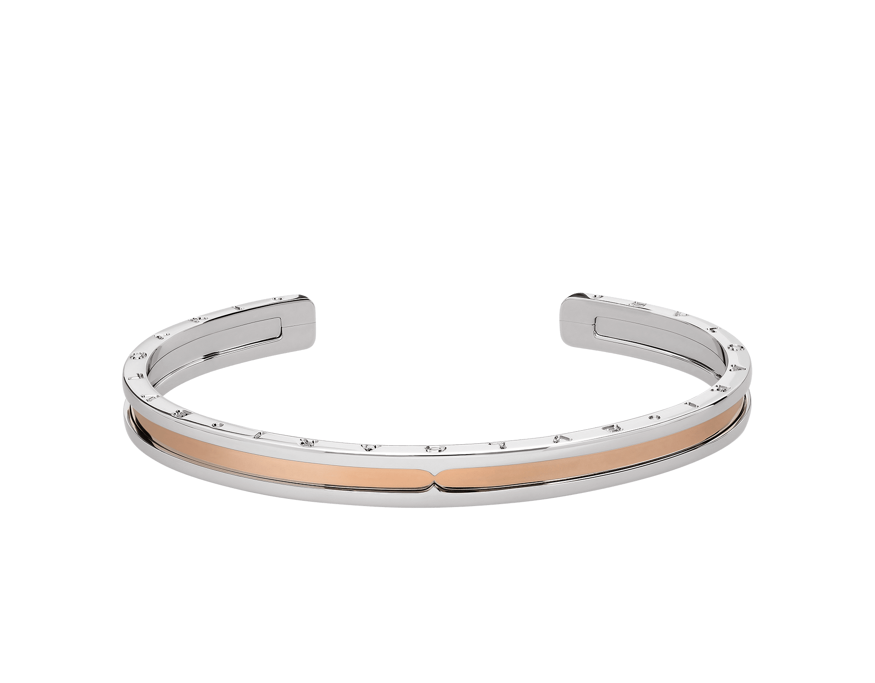 B.zero1 cuff bracelet in stainless steel and 18kt rose gold. BR855436 image 2