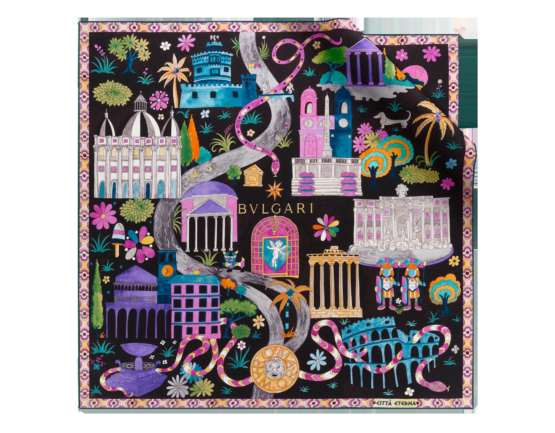"""Black """"Città Eterna"""" scarf in fine silk twill. CITTAETERNAscarf image 1"""