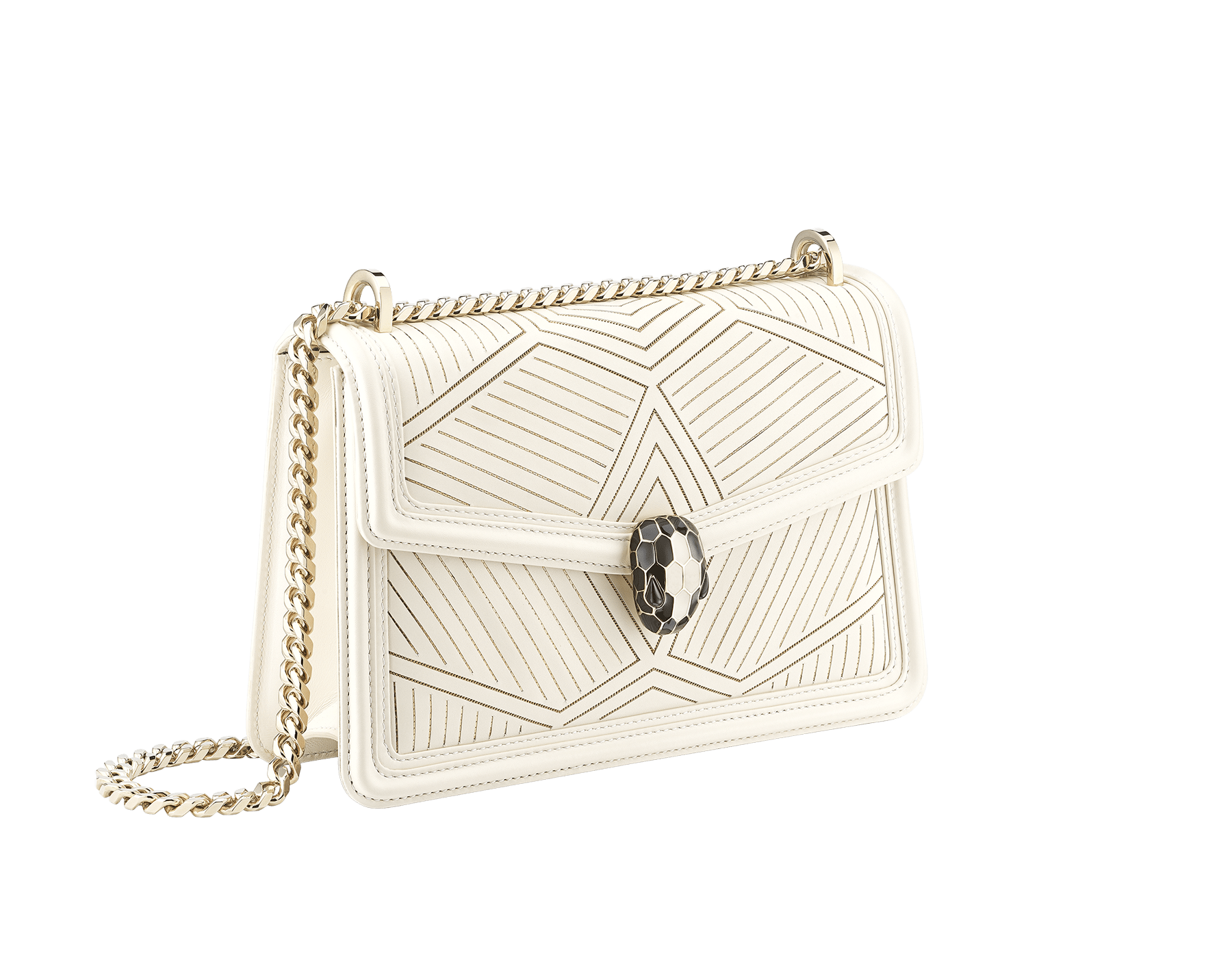 """Serpenti Diamond Blast"" shoulder bag in white agate calf leather, featuring a Whispy Chain motif in light gold finishing. Iconic snakehead closure in light gold plated brass enriched with black and white agate enamel and black onyx eyes. 922-WC image 2"