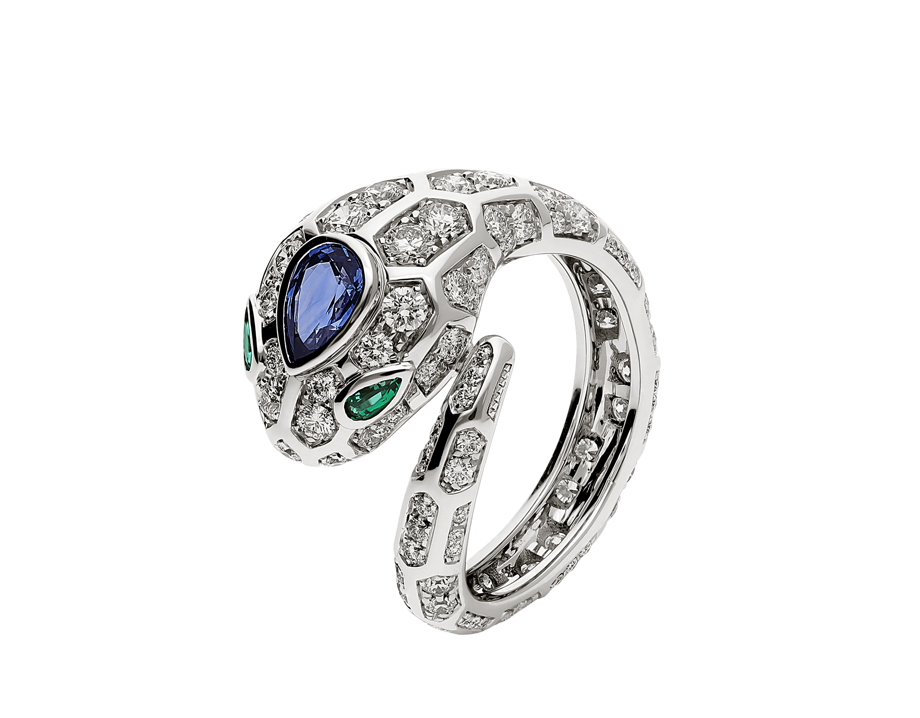 Serpenti 18 kt white gold ring set with a blue sapphire on the head, emerald eyes and pavé diamonds AN858337 image 1