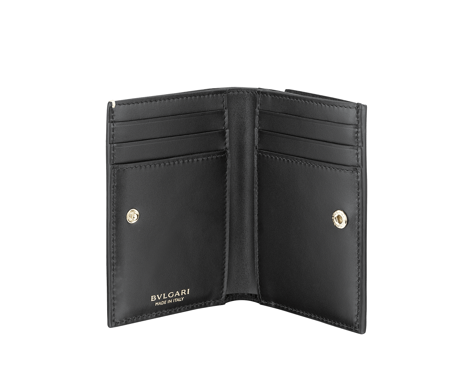 B.zero1 double folded credit card holder in black goatskin. Iconic B.zero1 charm in light gold plated brass. BZA-DOUBLECCHOLD image 2