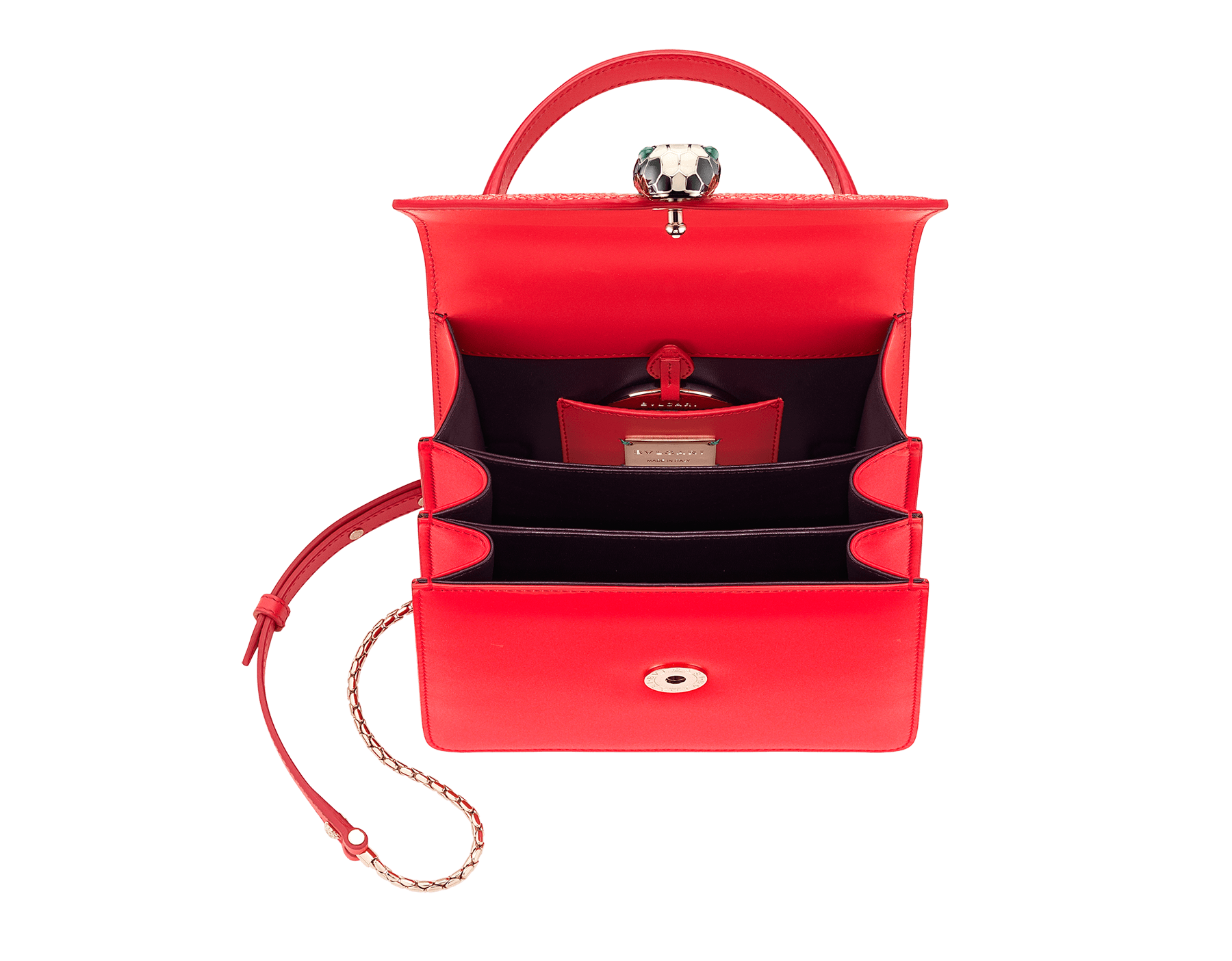 Serpenti Forever crossbody bag in sea star coral galuchat skin and smooth calf leather. Snakehead closure in light gold plated brass decorated with black and white enamel, and green malachite eyes. 287977 image 4