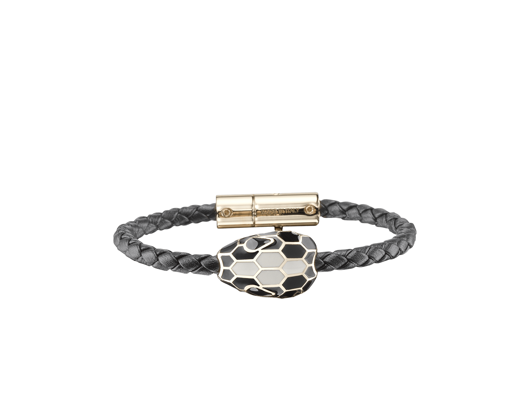 Serpenti Forever braid bracelet in black woven calf leather with an iconic snakehead décor in black and white enamel. SerpBraid-WCL-B image 1