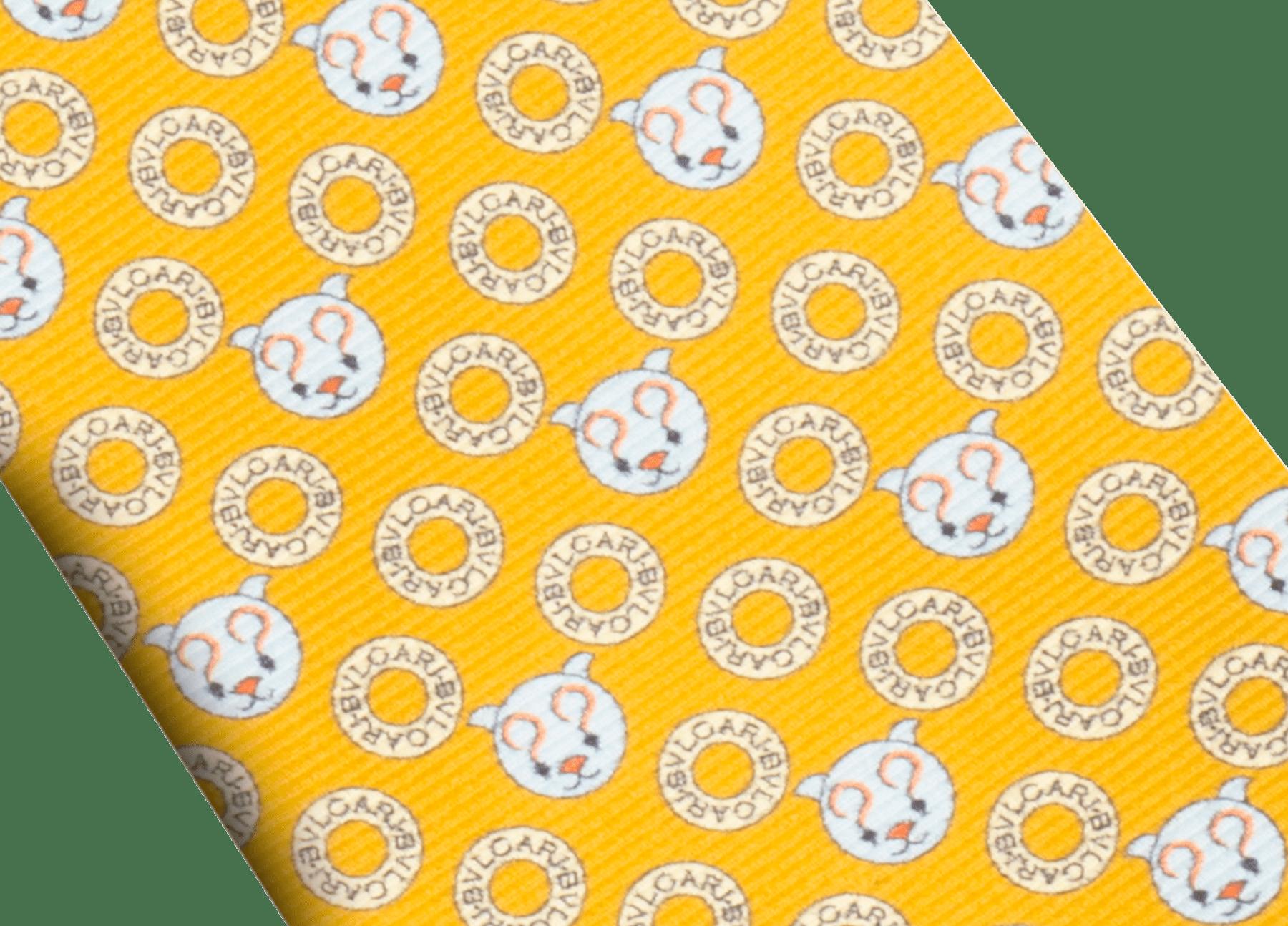 マンダリンのロゴ エモティキャット セブンフォールドネクタイ。上質なサリオーネプリントシルク製。 244329 image 2