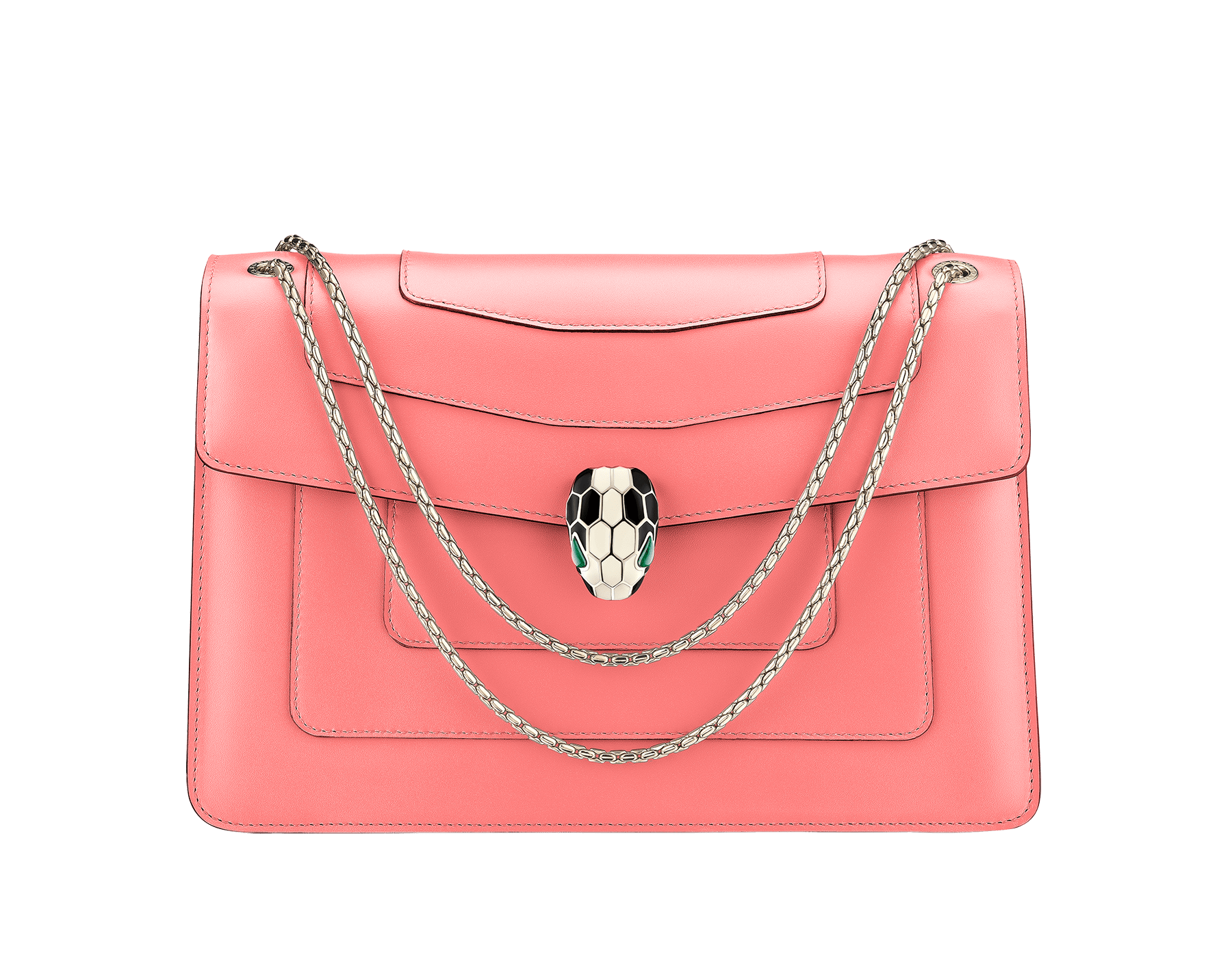 Serpenti Forever shoulder bag in silky coral calf leather. Iconic snakehead closure in light gold plated brass embellished with black and white enamel and green malachite eyes. 288704 image 1
