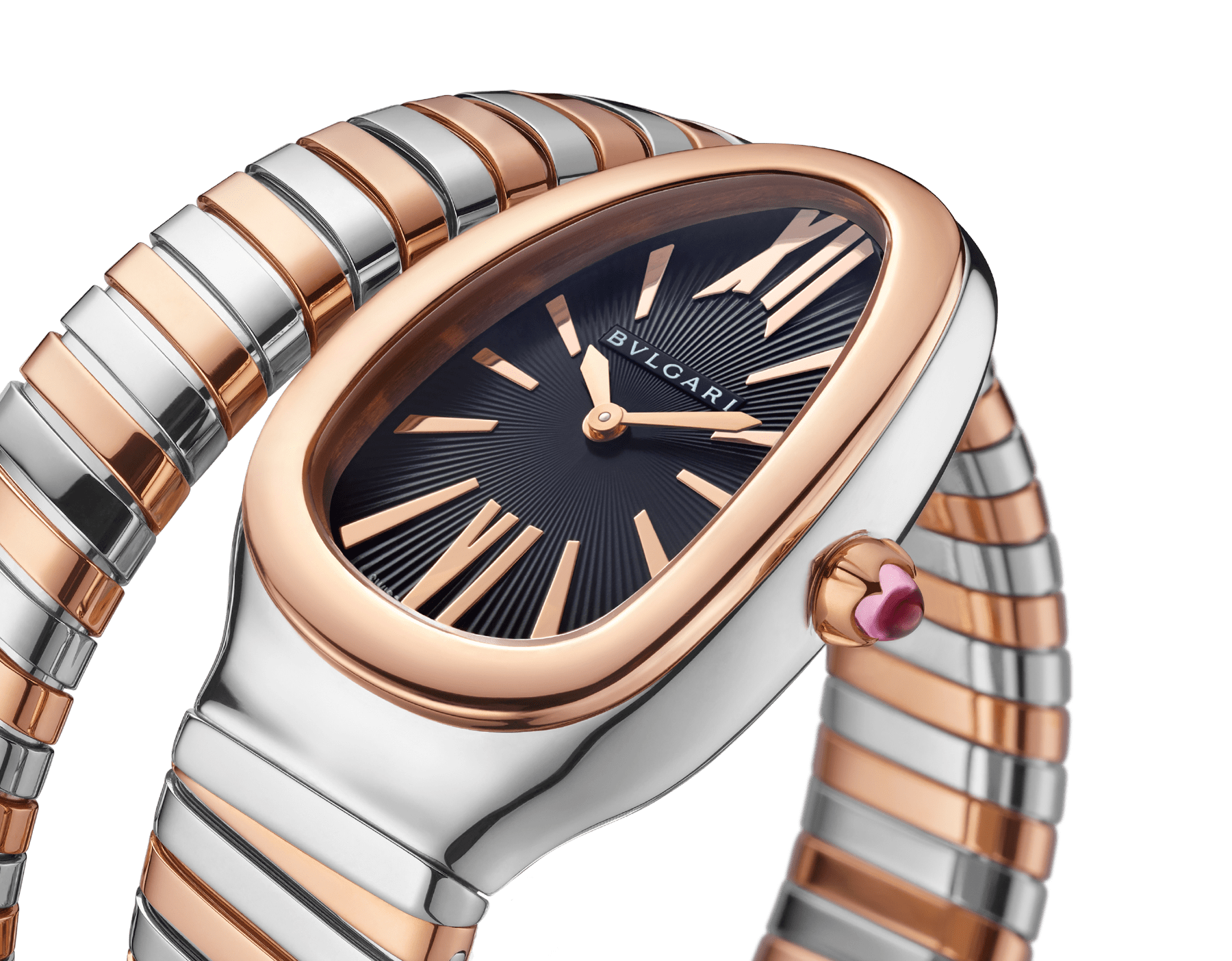 Serpenti Tubogas single spiral watch in 18 kt rose gold and stainless steel case and bracelet, with black opaline dial. 102123 image 3