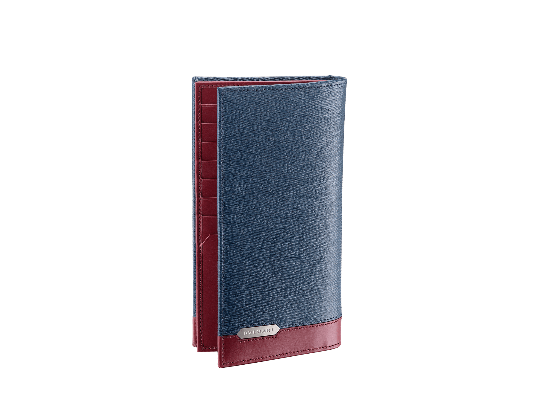 Serpenti Scaglie men's wallet for yen in denim sapphire grazed calf leather with brass and roman garnet calf leather. Bvlgari logo engraved on the hexagonal scaglie metal plate. 288463 image 1