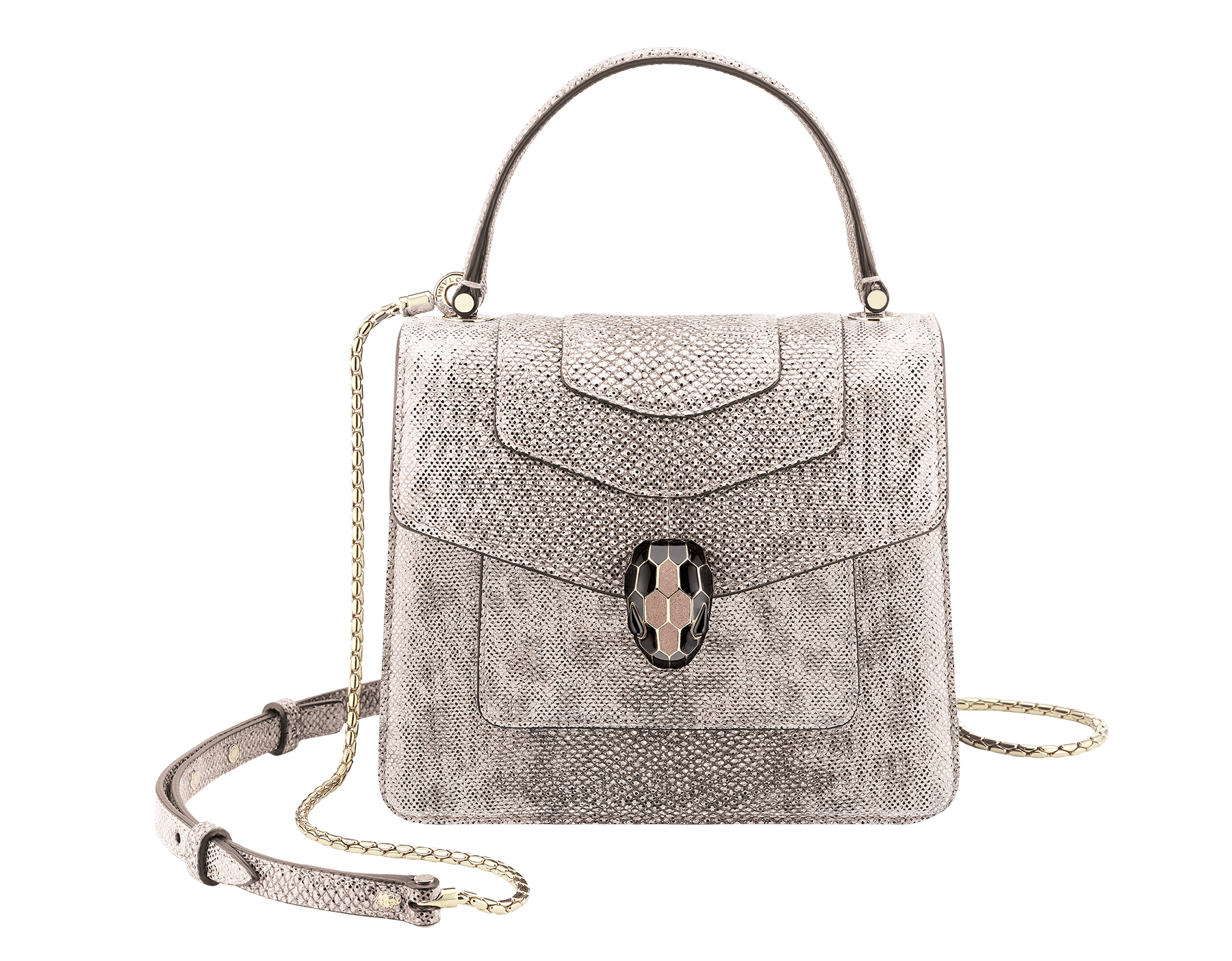 """""""Serpenti Forever"""" crossbody bag in crystal rose metallic karung skin. Iconic snakehead closure in light gold plated brass enriched with glitter rose gold and shiny black enamel and black onyx eyes 287093 image 1"""