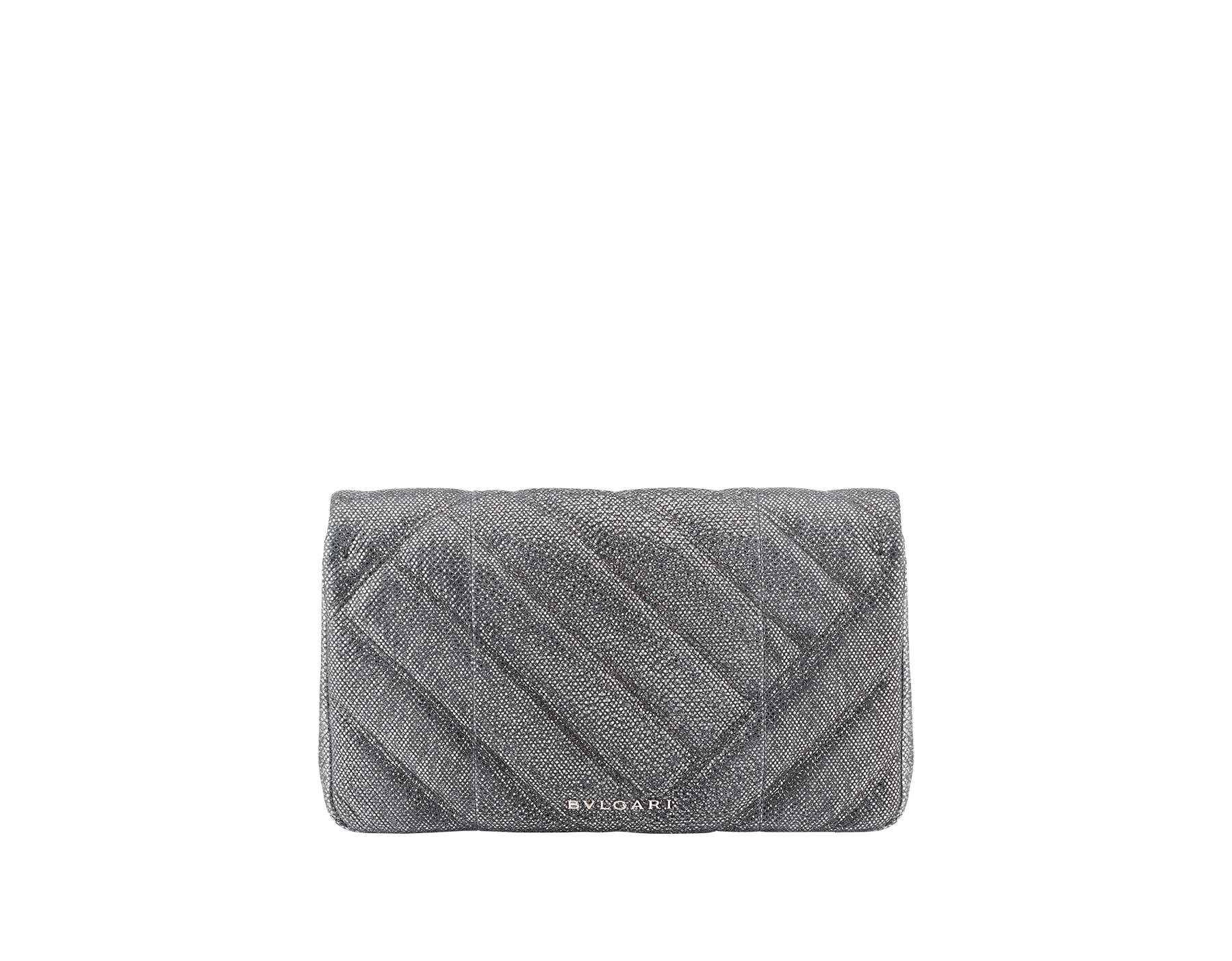 Serpenti Cabochon clutch bag in charcoal diamond metallic karung skin, with a graphic motif. Brass light gold plated tempting snake head closure in black and glitter charcoal diamond enamel and black onyx eyes. 289303 image 3