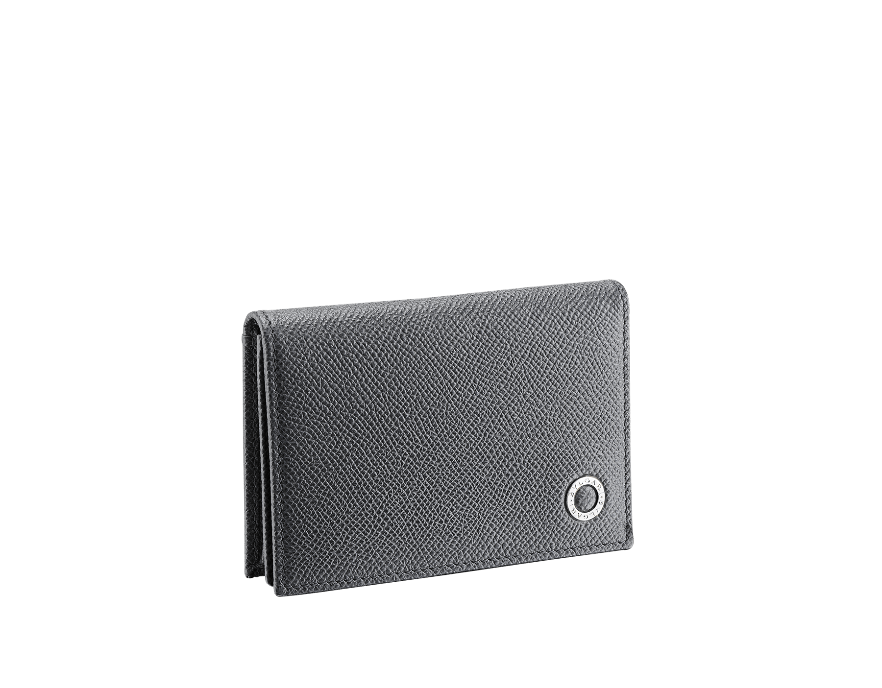 BVLGARI BVLGARI business card holder in charcoal diamond and emerald green grain calf leather, with brass palladium plated logo décor. 289115 image 1