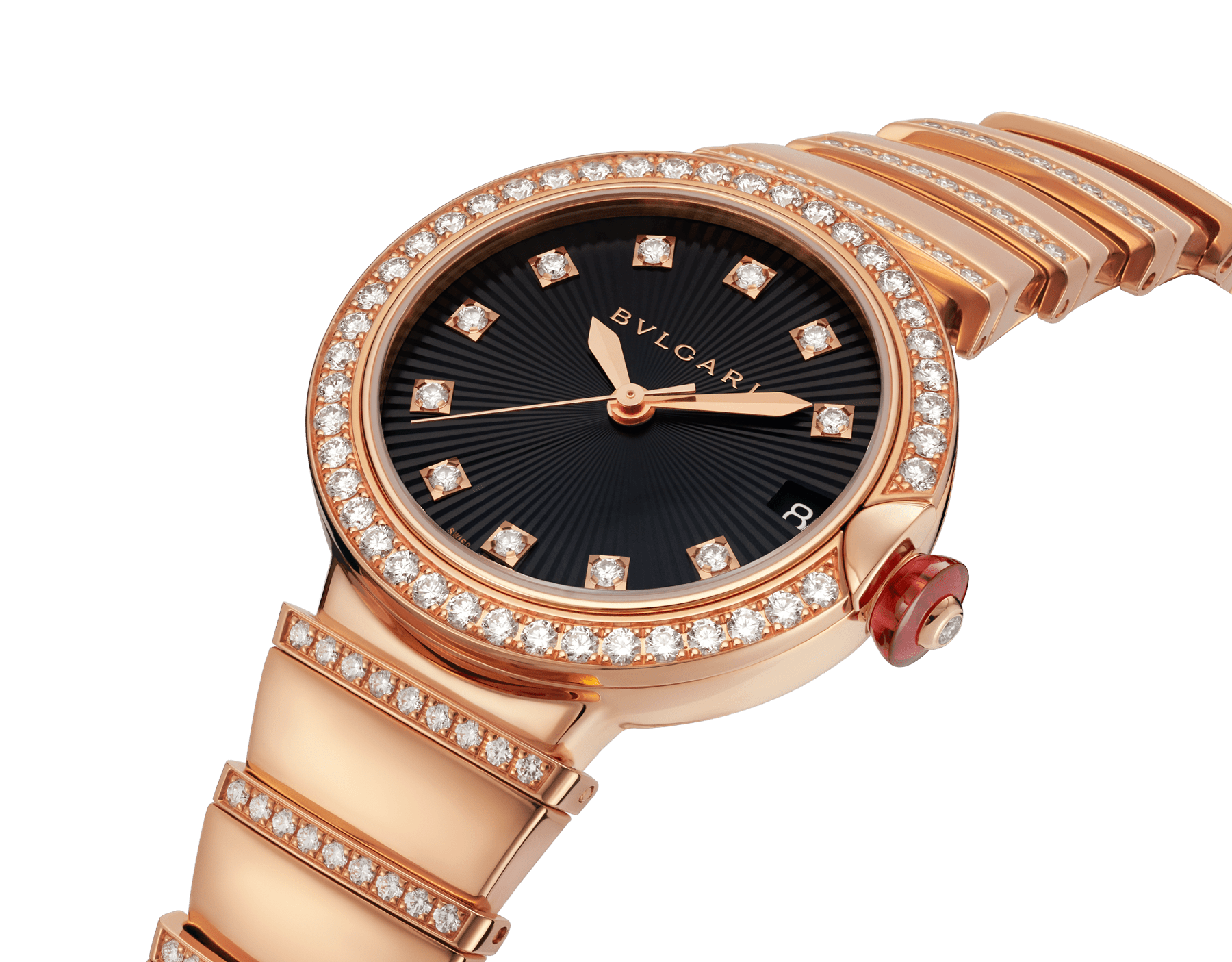 LVCEA watch in 18 kt rose gold and brilliant-cut diamond case and bracelet, with black opaline dial. 102191 image 2