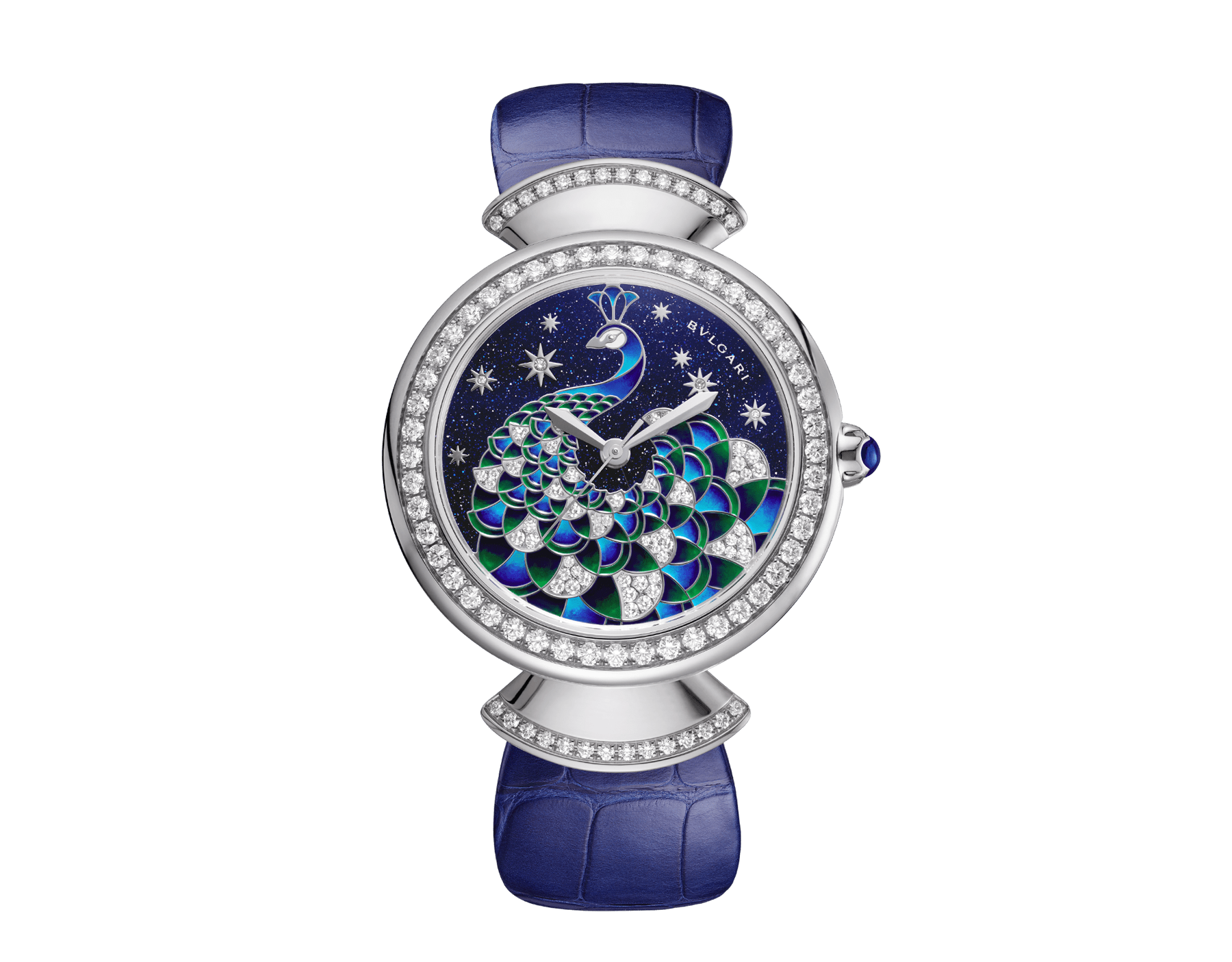 DIVAS' DREAM watch with 18 kt white gold case set with brilliant-cut diamonds, aventurine dial with hand-painted peacock set with diamonds and dark blue alligator bracelet 102740 image 1