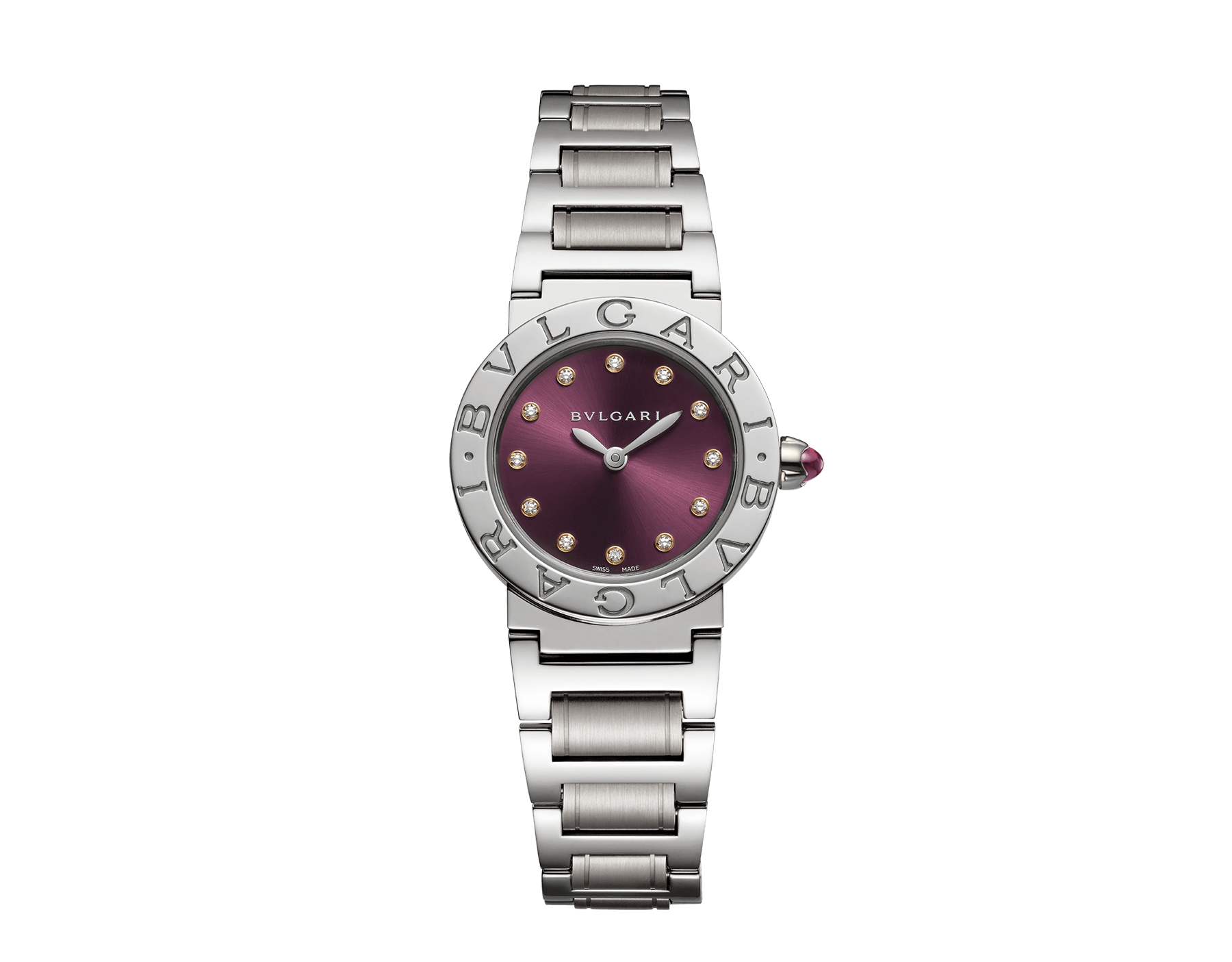 BVLGARI BVLGARI watch in stainless steel case and bracelet, with purple satiné soleil lacquered dial and diamond indexes 102606 image 1