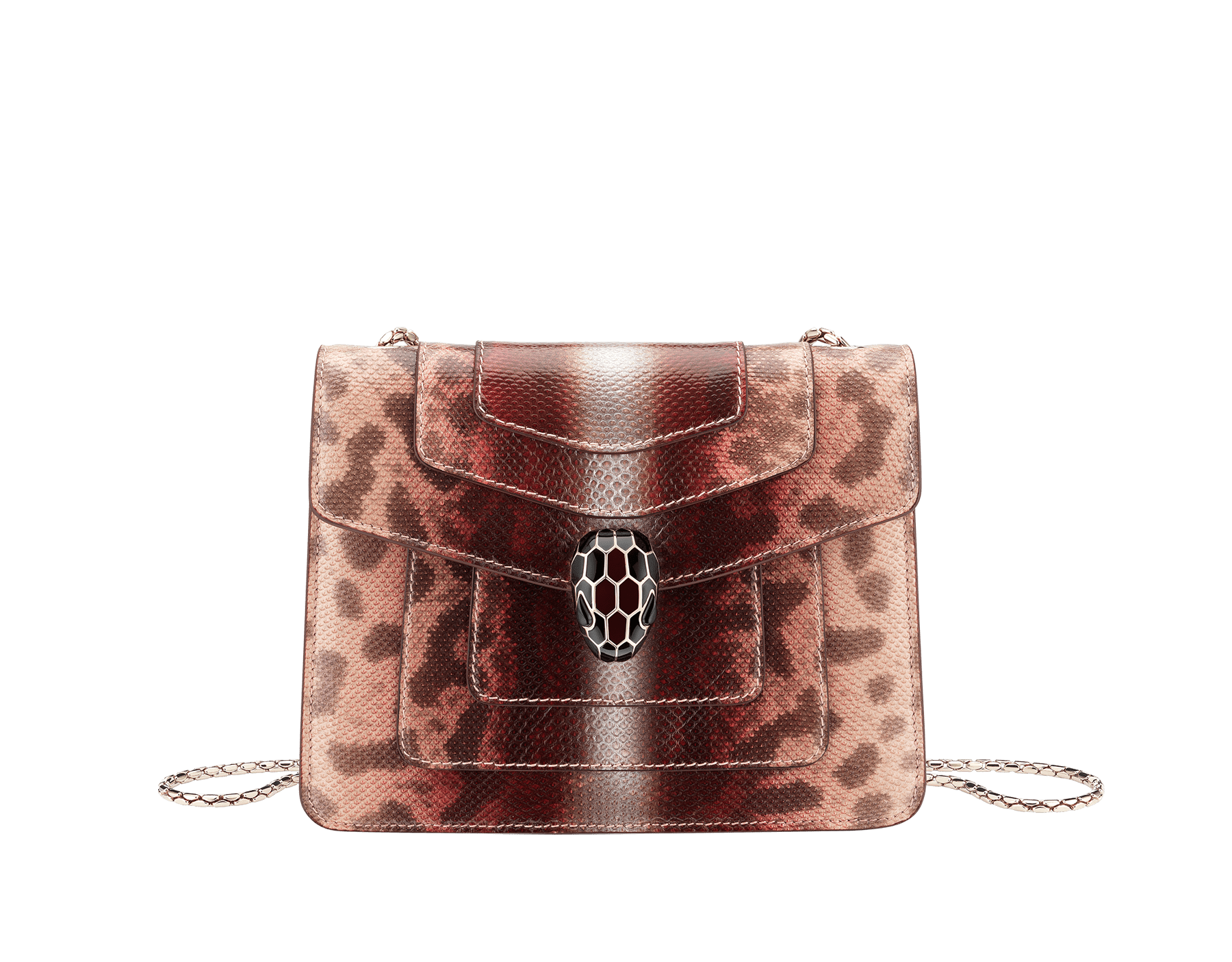 Serpenti Forever crossbody bag in rosa di francia Sahara karung skin. Iconic snakehead closure in light gold plated brass embellished with Roman garnet and black enamel and black onyx eyes. 289012 image 1