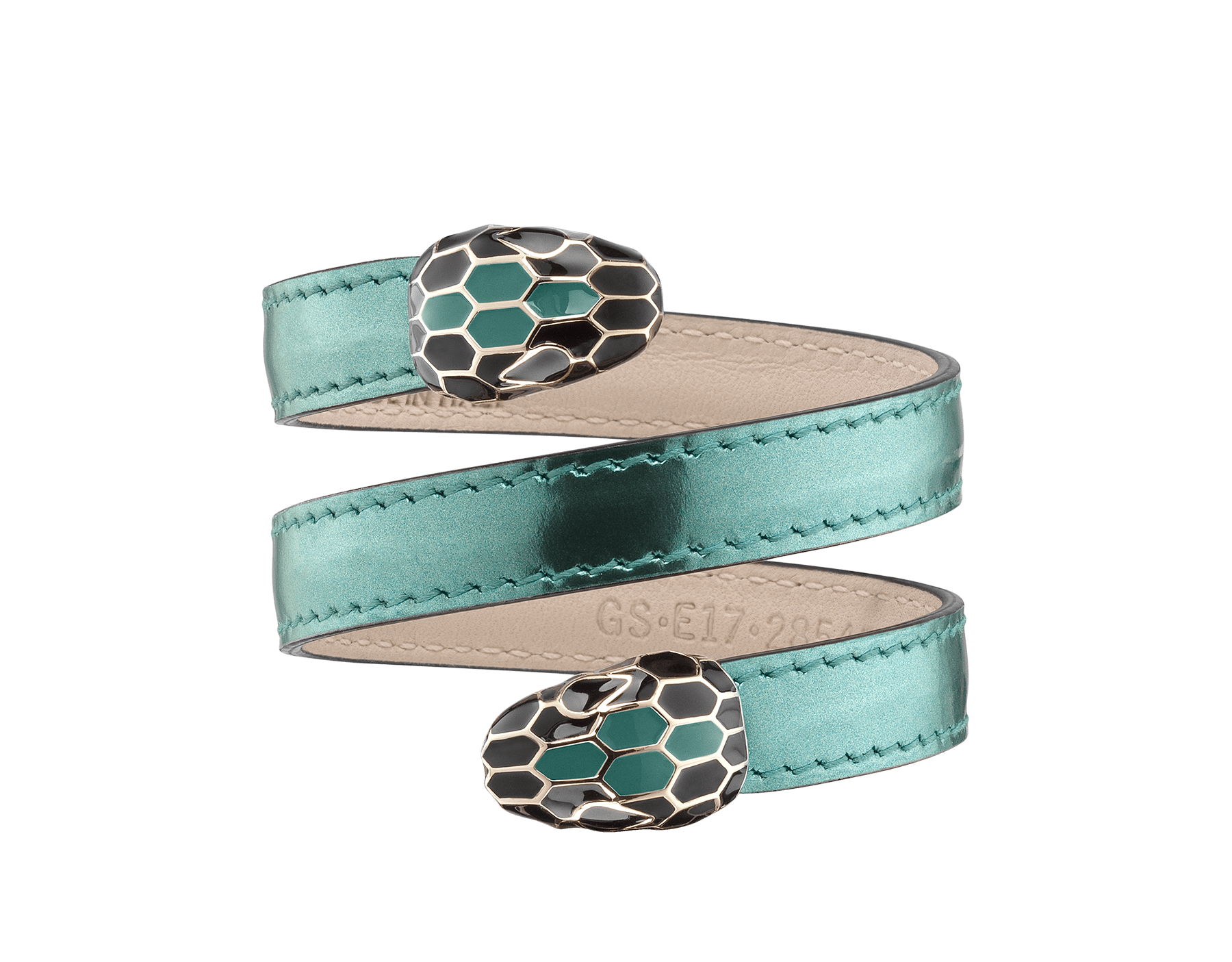 Serpenti Forever multi-coiled rigid Cleopatra bracelet in glacier turquoise brushed metallic calf leather, with brass light gold plated hardware. Iconic double snakehead décor in black and glacier turquoise enamel, with black enamel eyes. Cleopatra-BMCL-GT image 1