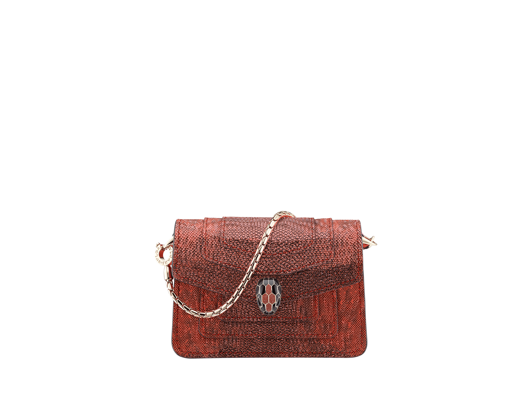 Bag charm Serpenti Forever miniature in ruby red metallic karung skin, with black calf leather lining. Iconic brass light gold plated snakehead stud closure in black and glitter red enamel, with black enamel eyes 287433 image 1