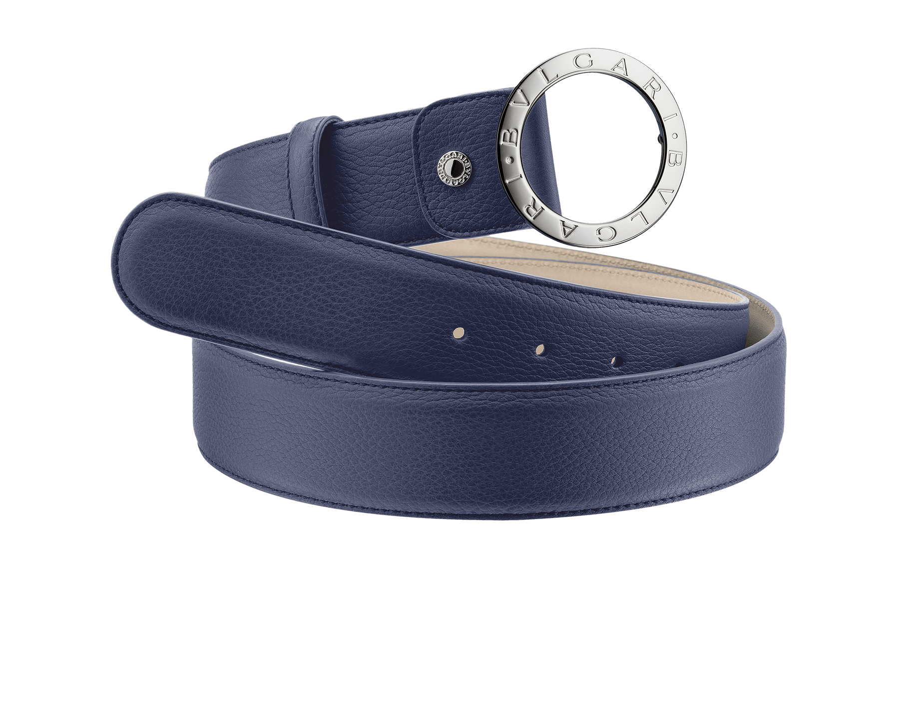 Man belt in denim sapphire soft grain calf leather with iconic round Bulgari Bulgari closure in brass palladium plated hardware. Also available in other colours and materials in-store. Resizable/Adjustable 281014 image 1