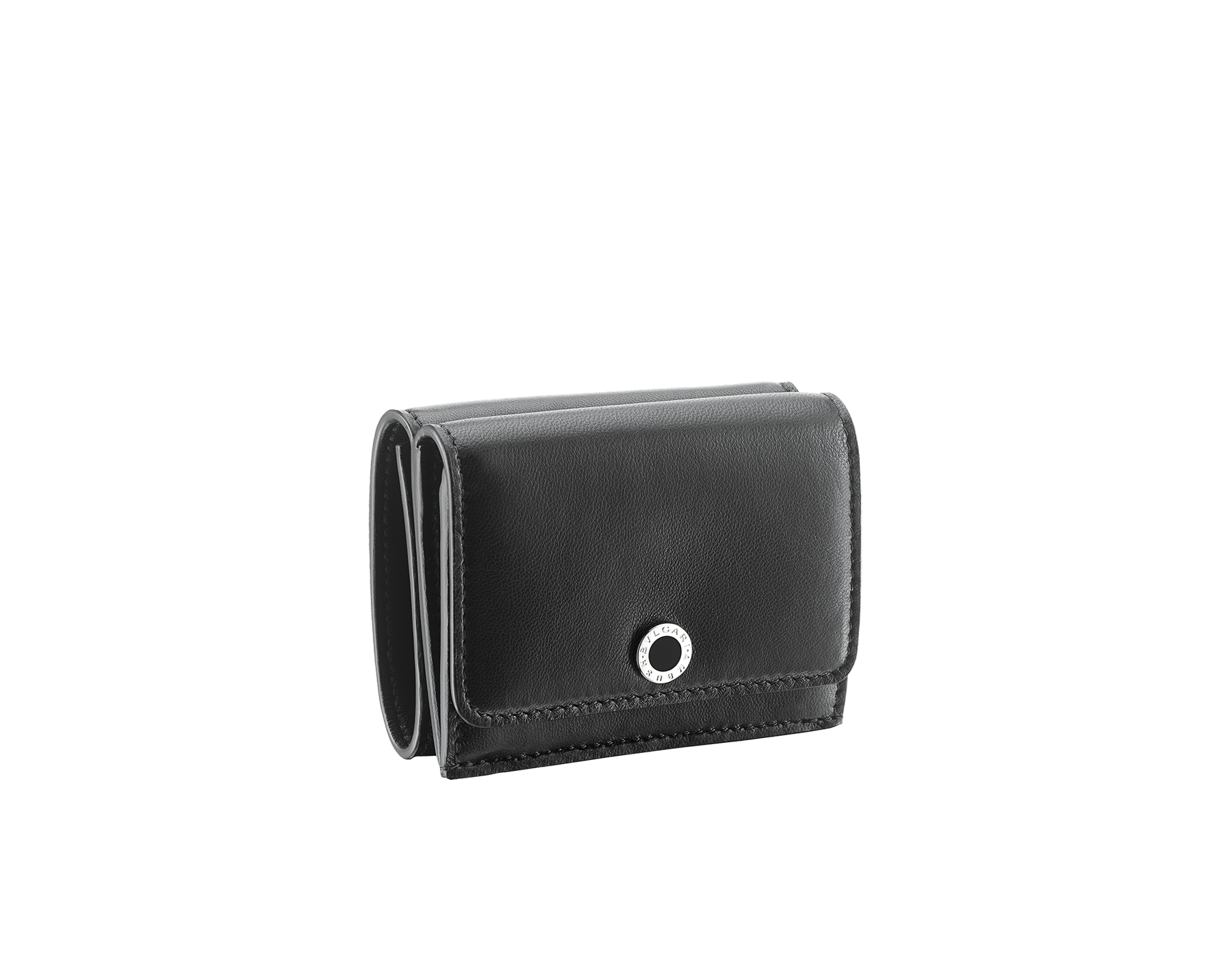 """Ambush x Bvlgari"" mini compact wallet in bright blue nappa leather. Palladium plated brass ""BVLGARI AMBUSH"" décor enameled in black on one side and special ""BVLGARI AMBUSH"" logo print on the other. Limited edition. YA-MINICOMPACT image 1"