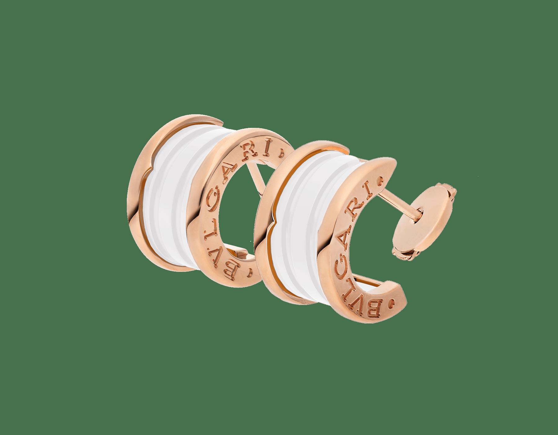 Pendientes B.zero1 en oro rosa de 18 qt y cerámica blanca. 346464 image 2