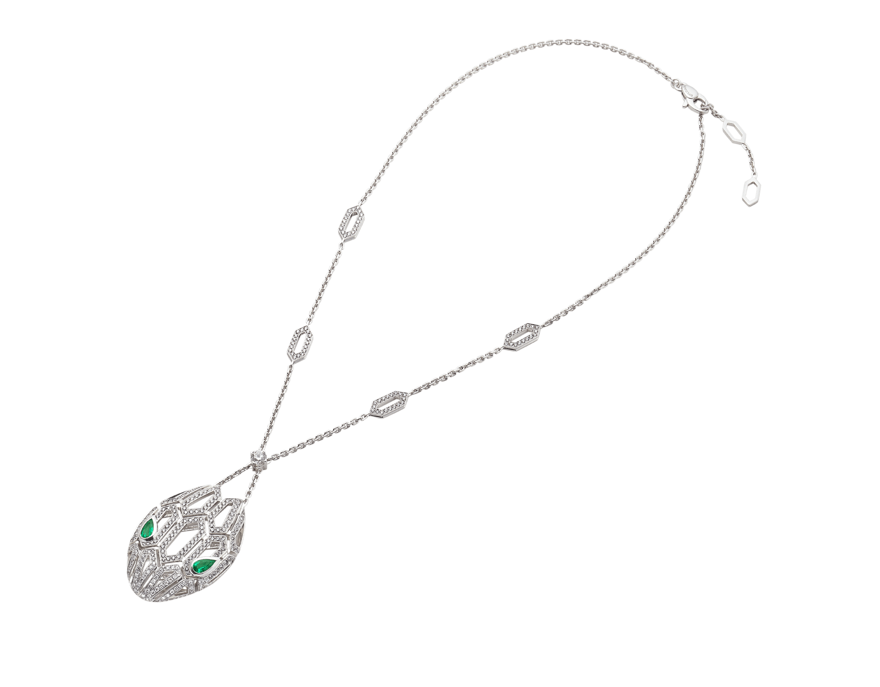 Serpenti necklace in 18 kt white gold, set with emerald eyes and pavé diamonds both on the chain and the pendant. 352752 image 2