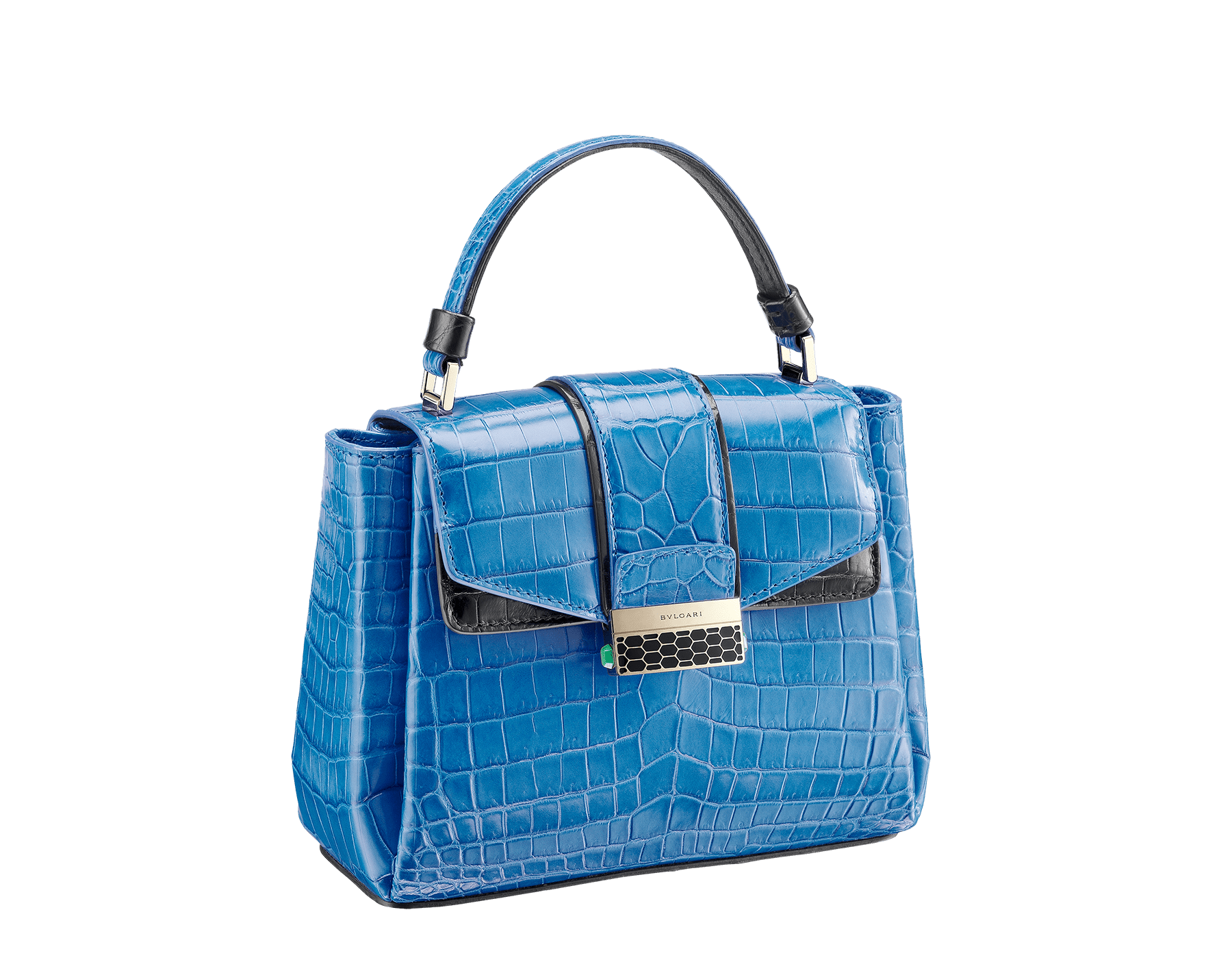 Top handle bag Serpenti Viper in cloud topaz and black shiny crocodile skin. 282924 image 2