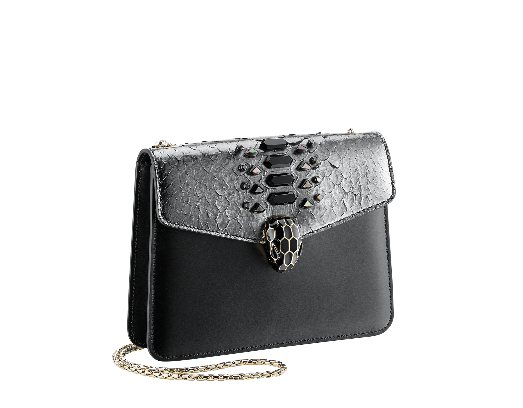 """""""Serpenti Forever"""" crossbody bag in dark silver python skin flap with onyx scales applied and black smooth calf leather body. Iconic snakehead closure in light gold plated brass enriched with matte and shiny black enamel and black onyx eyes. 289420 image 2"""