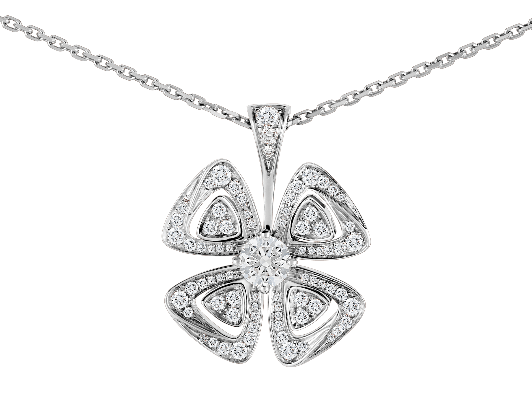 Fiorever 18 kt white gold necklace set with a central diamond (0.30 ct) and pavé diamonds (0.36 ct) 354496 image 3