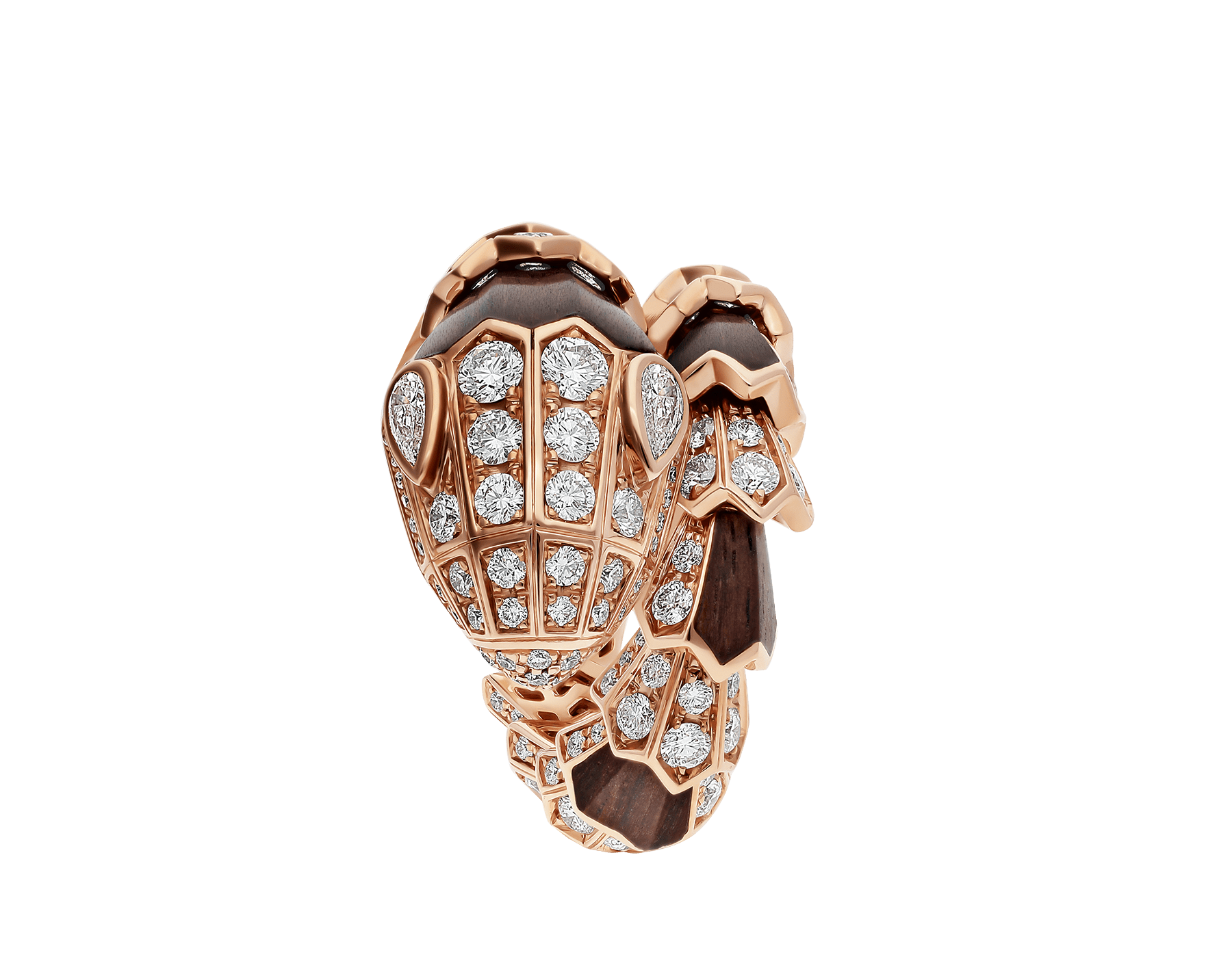 Serpenti ring in 18 kt rose gold, set with wood elements and pavé diamonds. AN857756 image 2