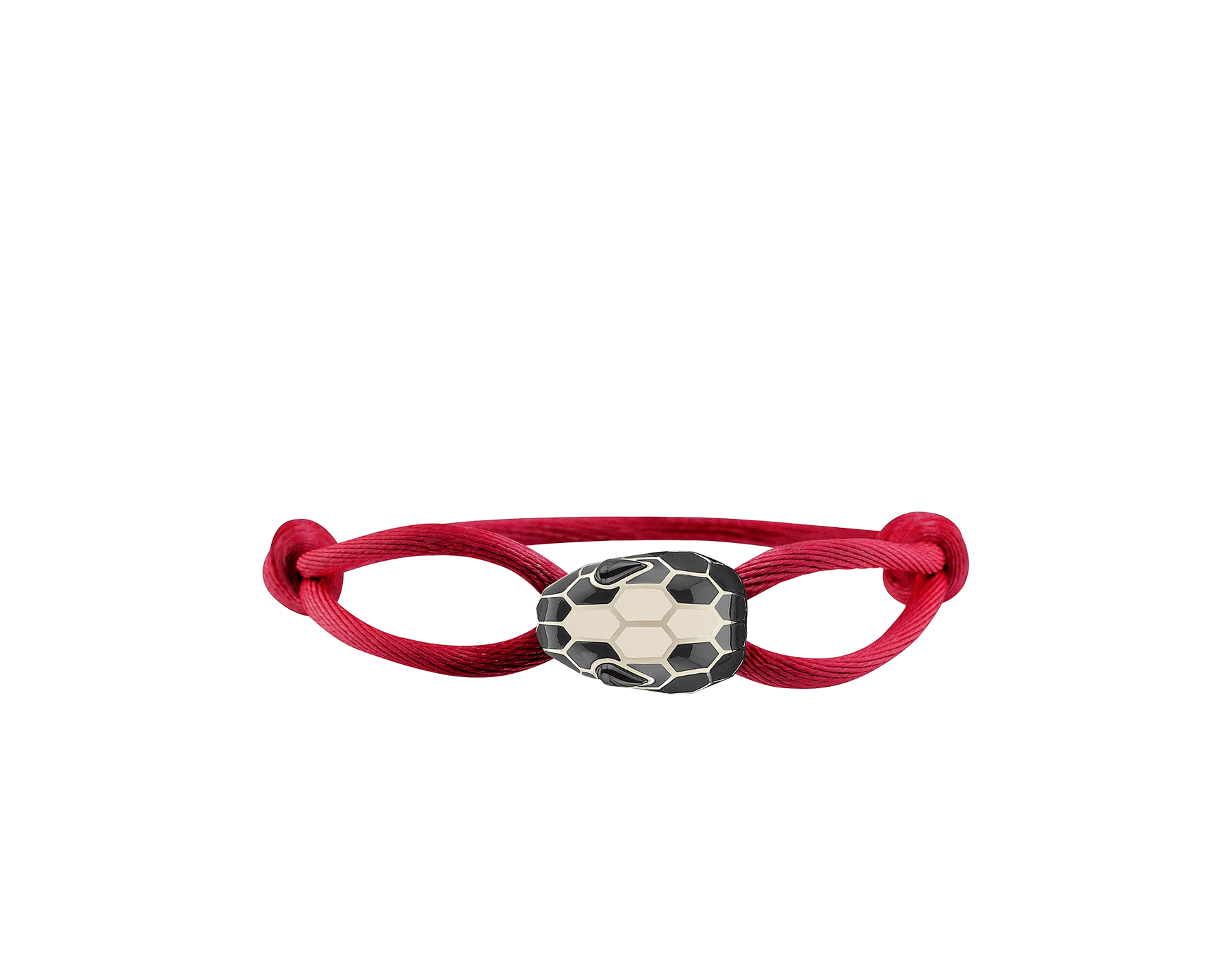 Serpenti Forever bracelet in ruby red fabric with an iconic snakehead décor in black and white enamel. 287823 image 1