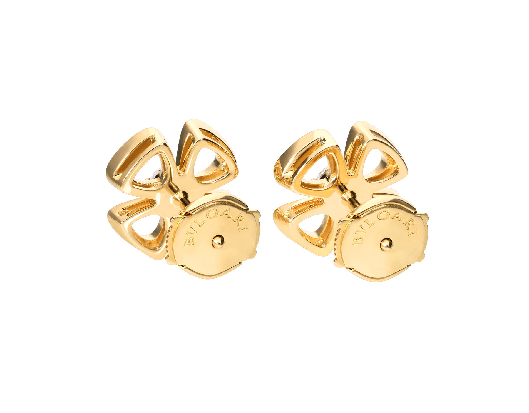 Fiorever 18 kt yellow gold stud earrings set with two central diamonds (0.10 ct each) 357503 image 3