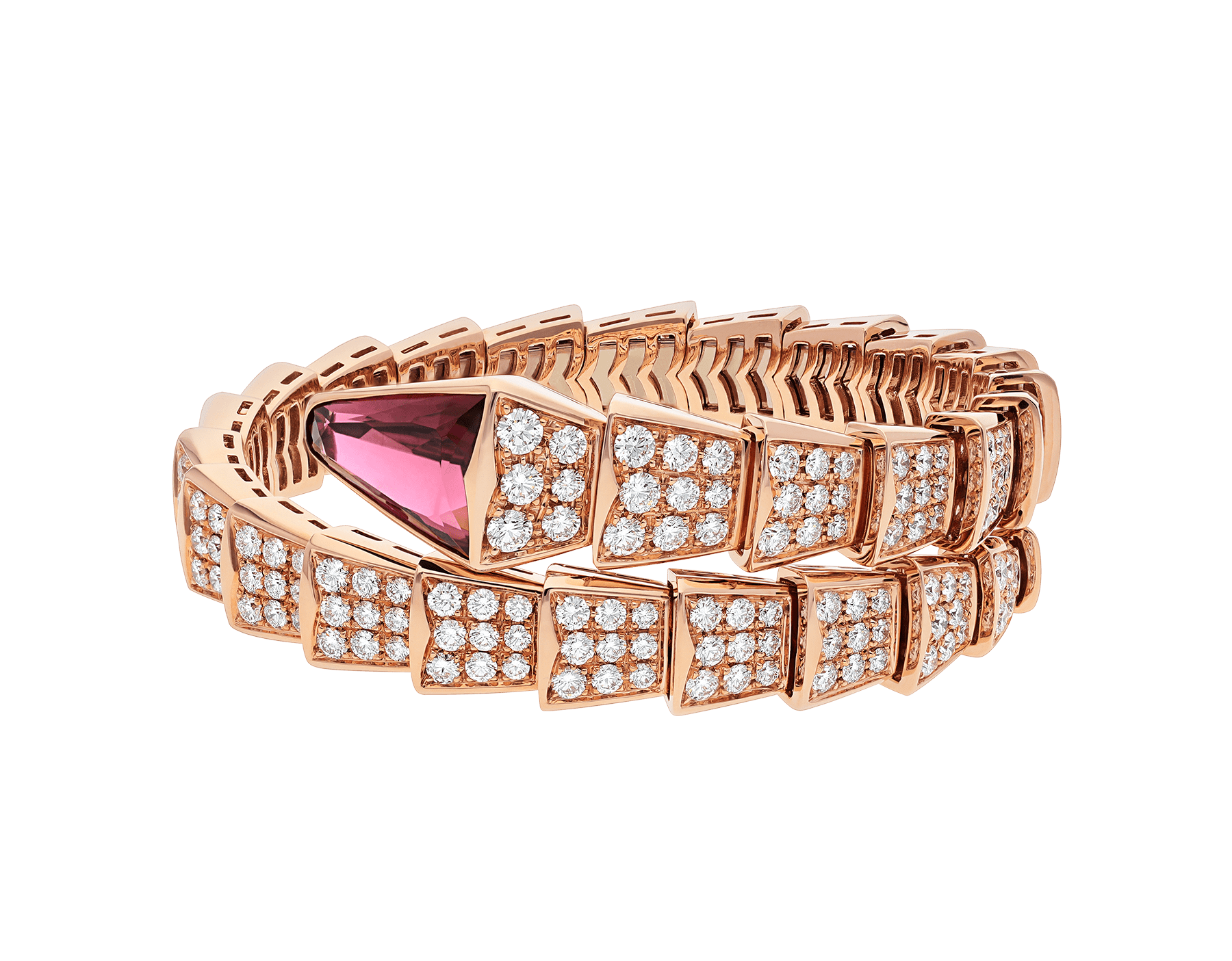 Serpenti one-coil bracelet in 18 kt rose gold, set with full pavé diamonds and a rubellite on the head. BR856126 image 2
