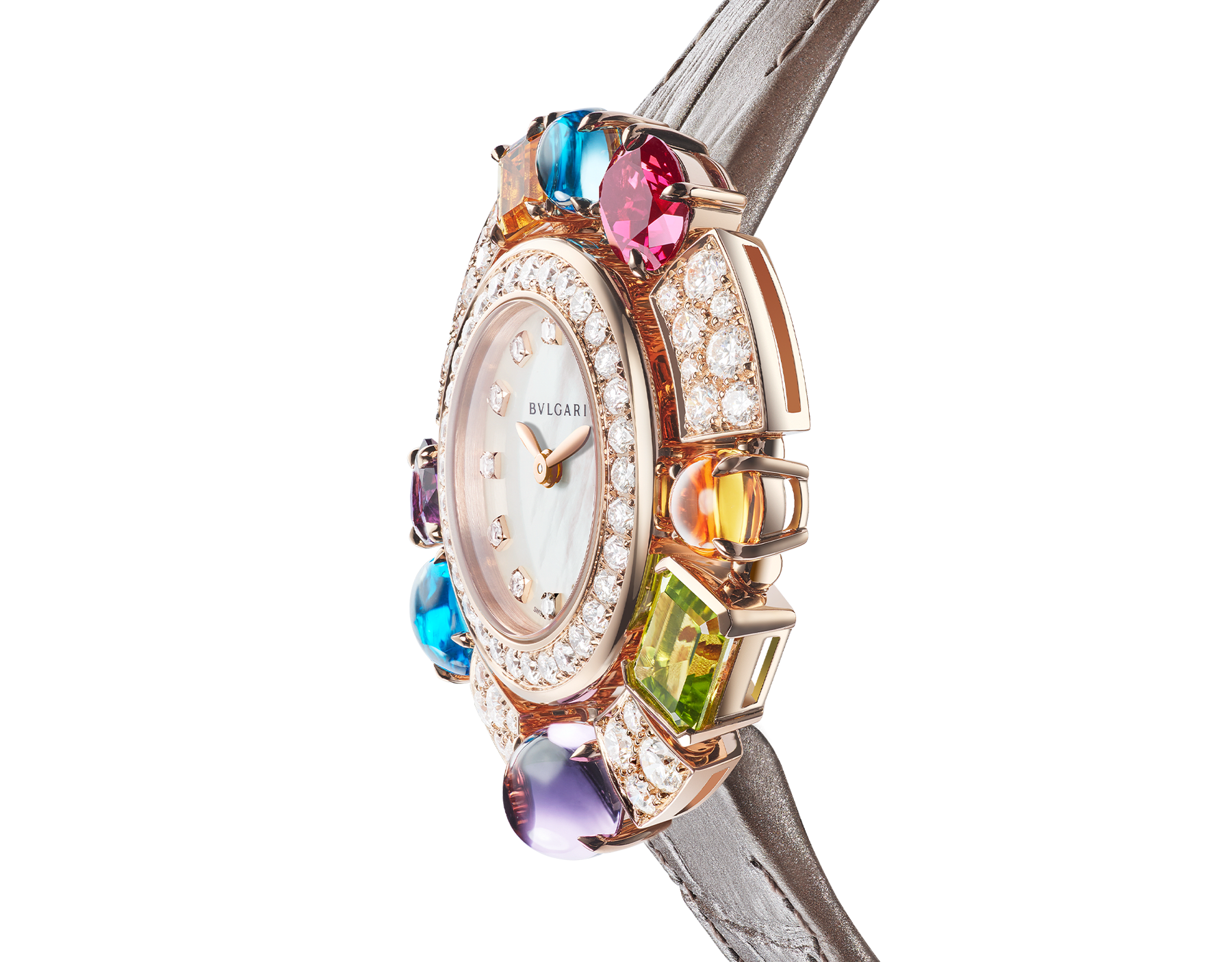 Allegra High Jewelry watch with 18 kt rose gold case set with brilliant-cut diamonds, two citrines, two amethysts, a peridot, two blue topazes and a rhodolite, mother-of-pearl dial, diamond indexes and shiny taupe alligator bracelet. Water-resistant up to 30 meters. 103493 image 3