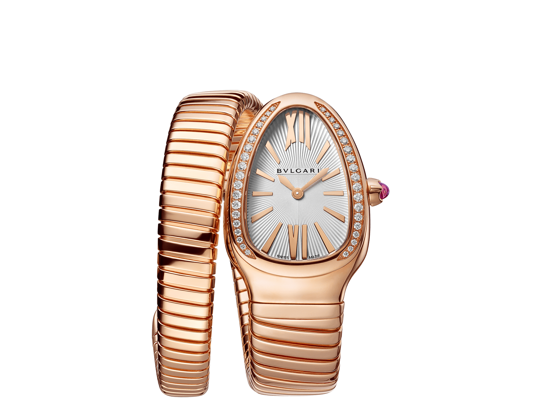Serpenti Tubogas single spiral watch with 18 kt rose gold case set with brilliant-cut diamonds, silver opaline dial and 18 kt rose gold bracelet 103003 image 1