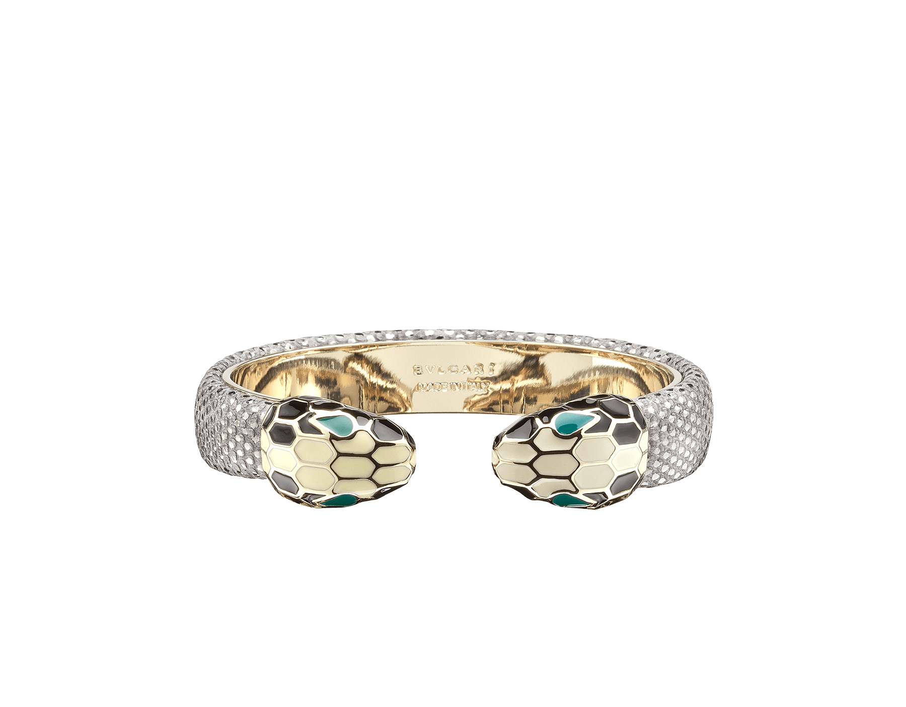 Bracelet in silver metallic karung skin with iconic contraire brass light gold plated Serpenti heads motif in black and white enamel, with green enamel eyes. SPContr-MK-S image 1