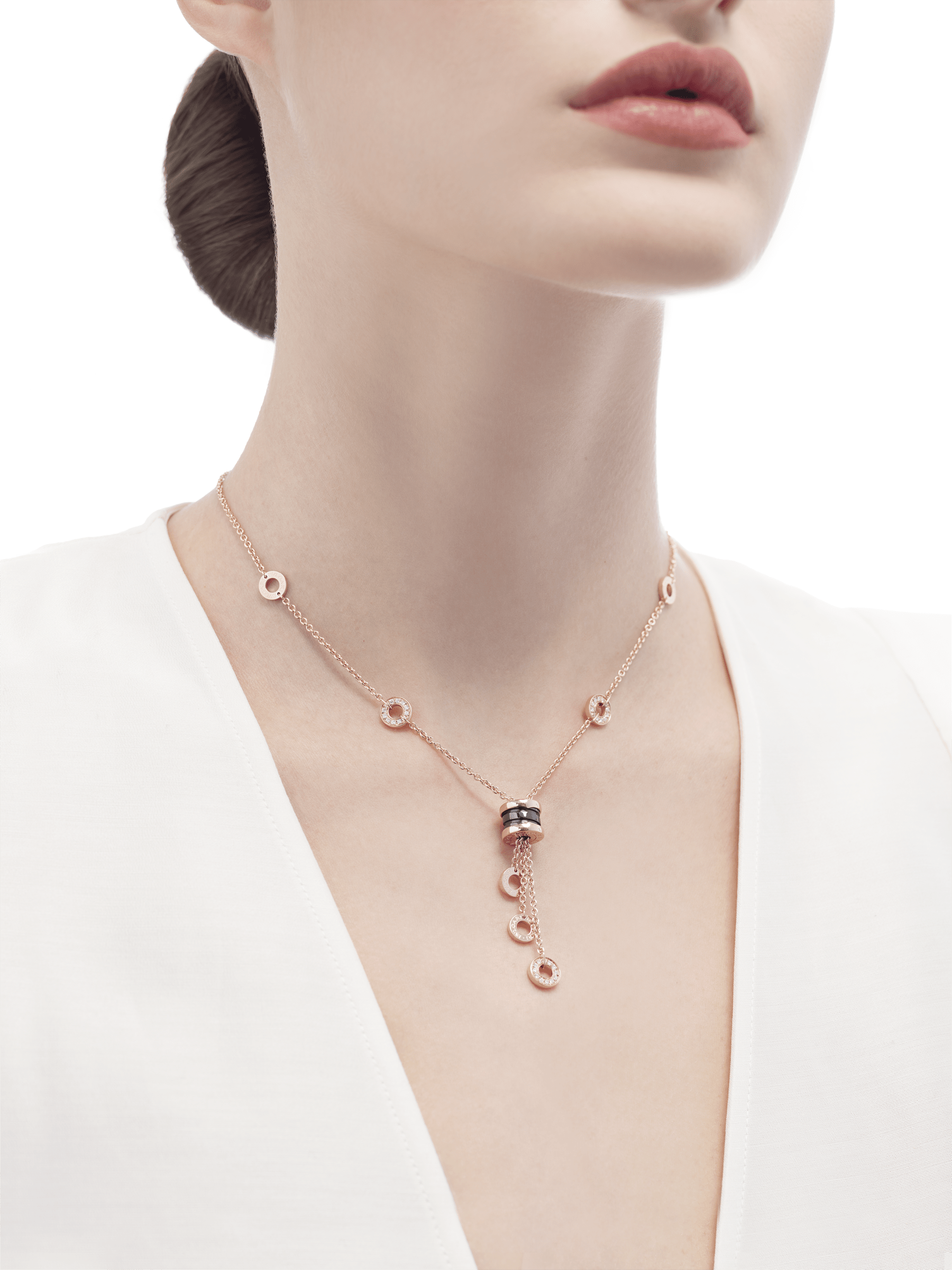 B.zero1 necklace with 18 kt rose gold chain set with pavé diamonds and pendant in 18 kt rose gold and black ceramic. 347578 image 3